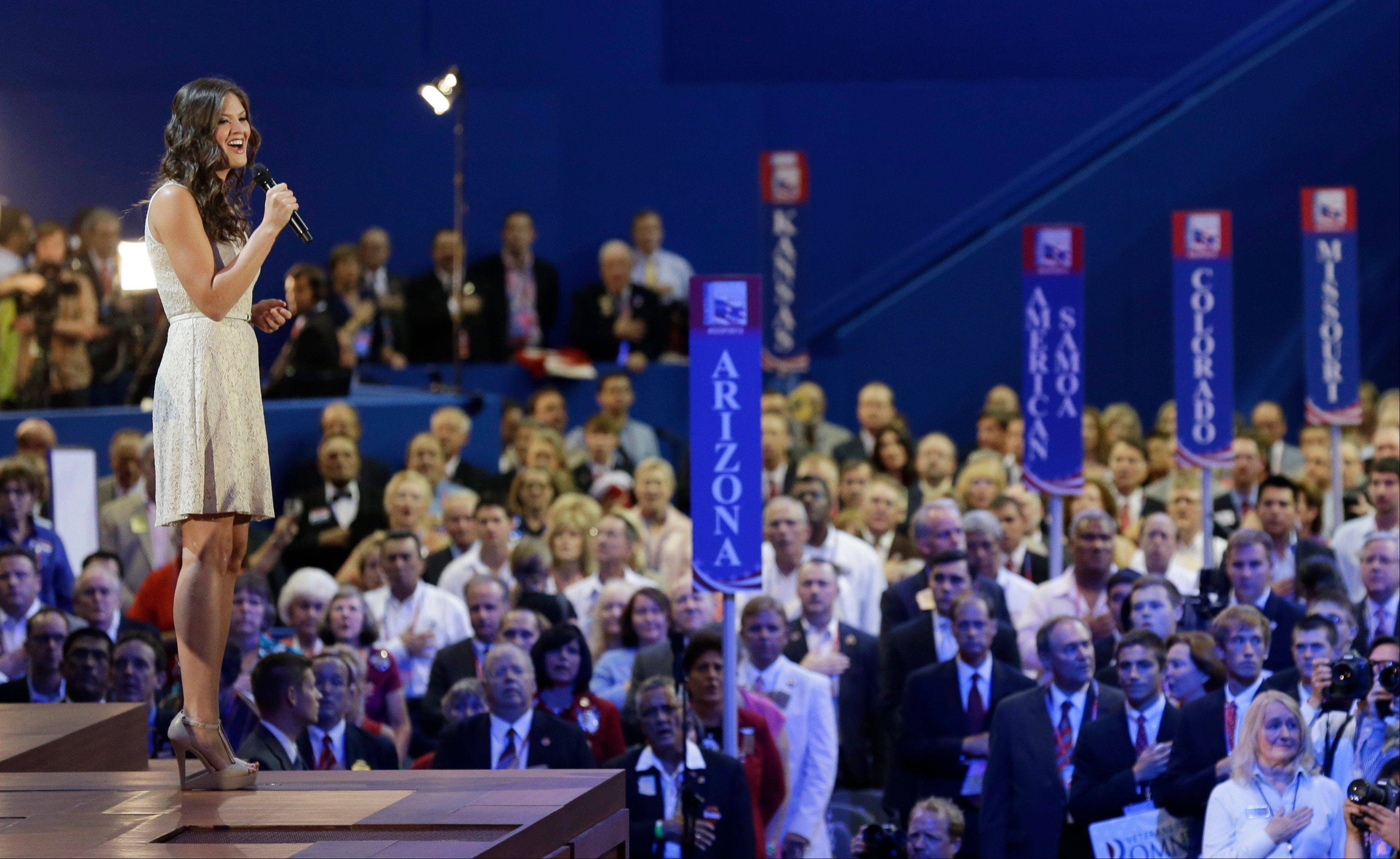 Ayla Brown sings the National Anthem during the Republican National Convention in Tampa, Fla., on Wednesday, Aug. 29, 2012.