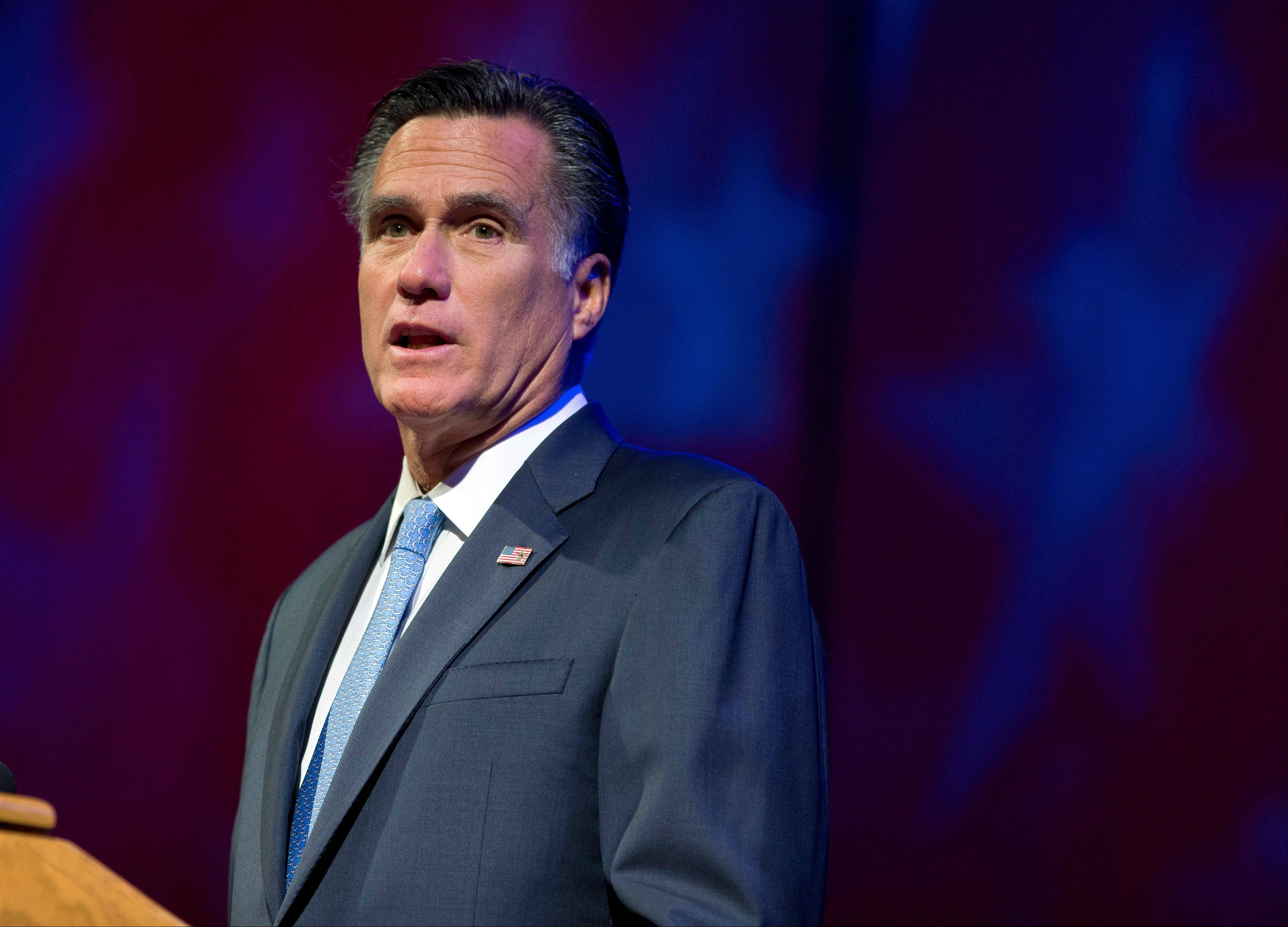 Republican presidential candidate, former Massachusetts Gov. Mitt Romney speaks to the American Legion National Convention on Wednesday in Indianapolis.