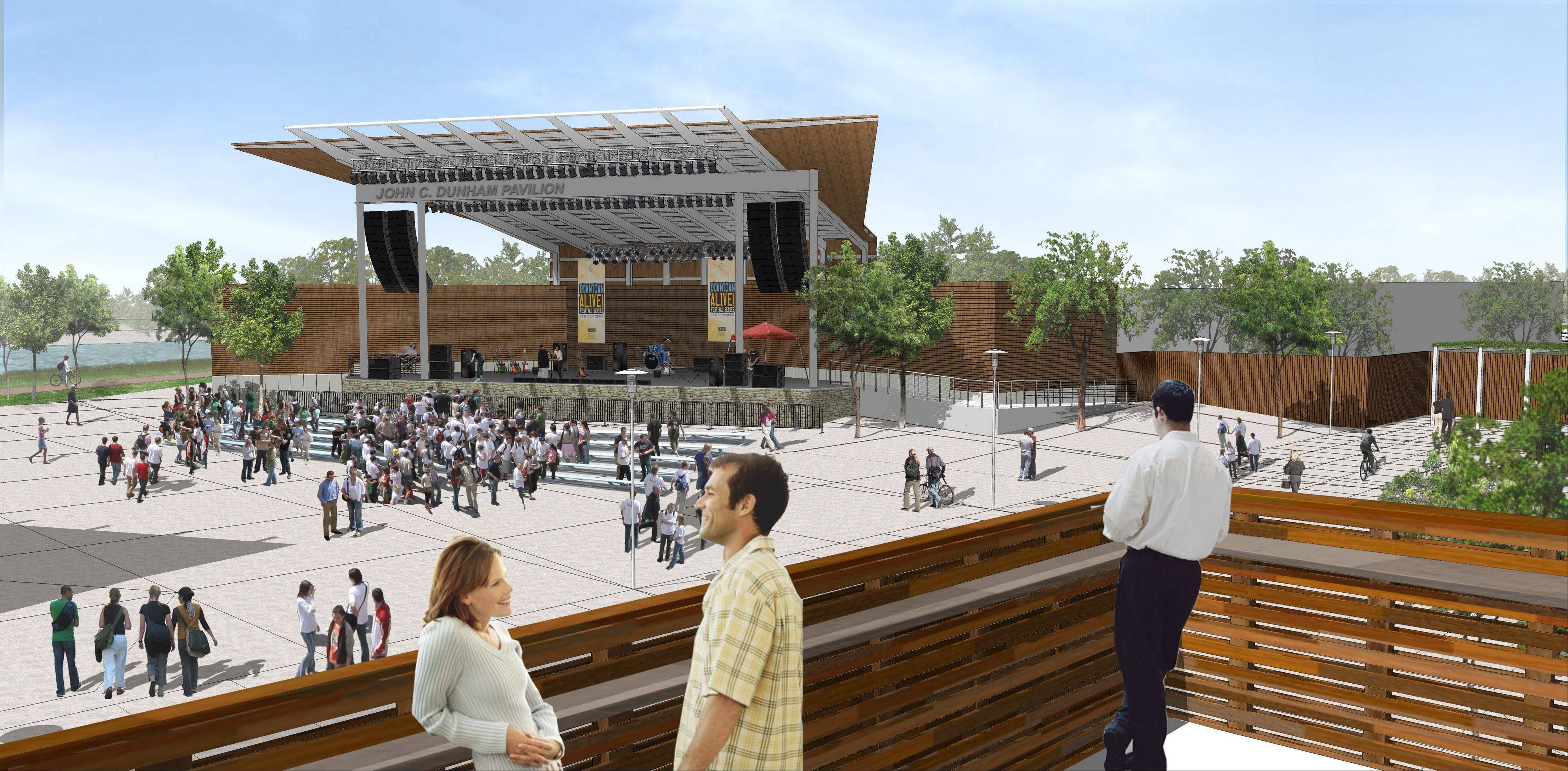 A rendering shows the John C. Dunham Pavilion in Aurora, which is set to open next summer as RiverEdge Park's concert and performance venue.