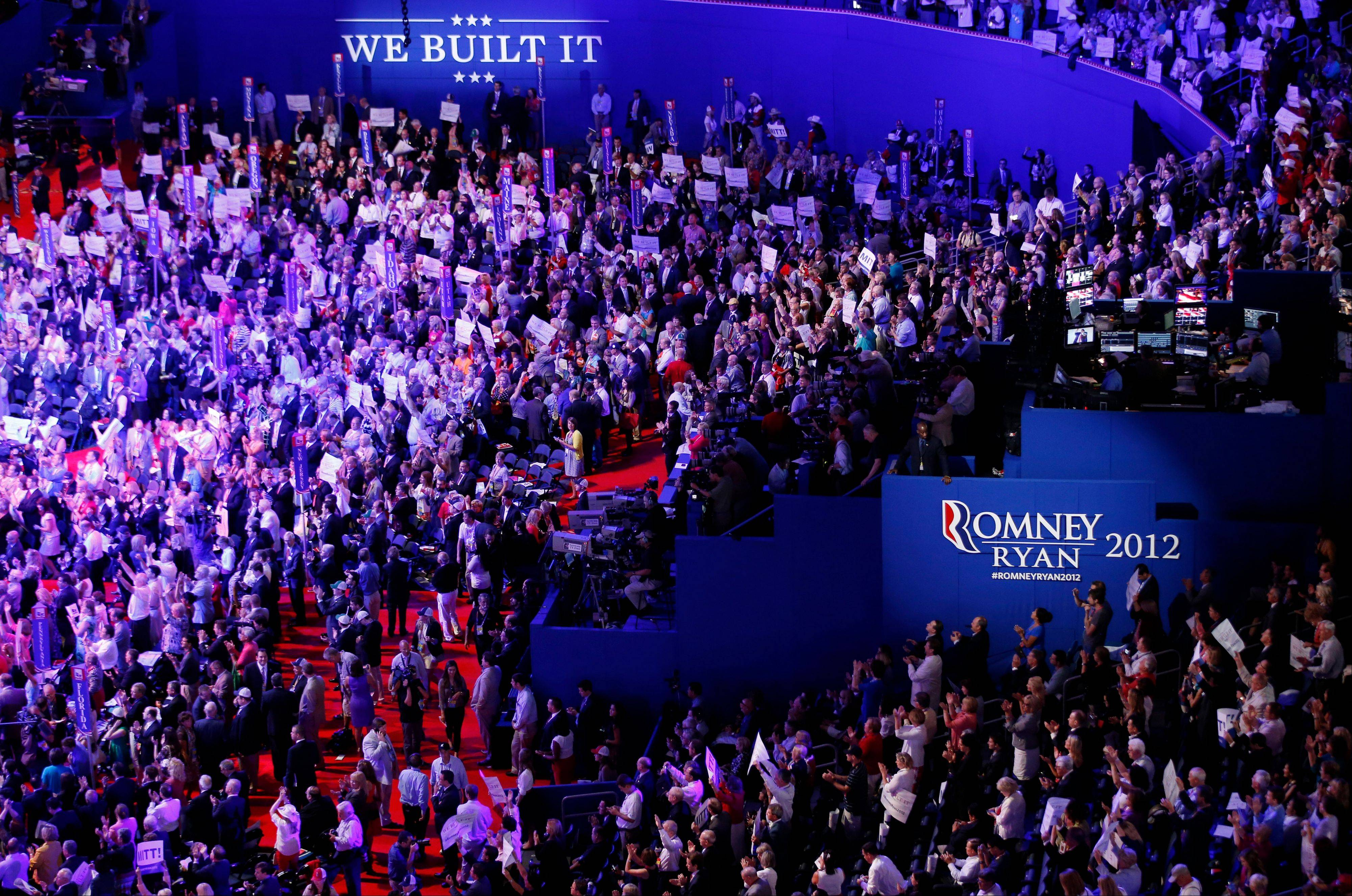 Delegates gather in the Tampa Bay Times Forum during the Republican National Convention.