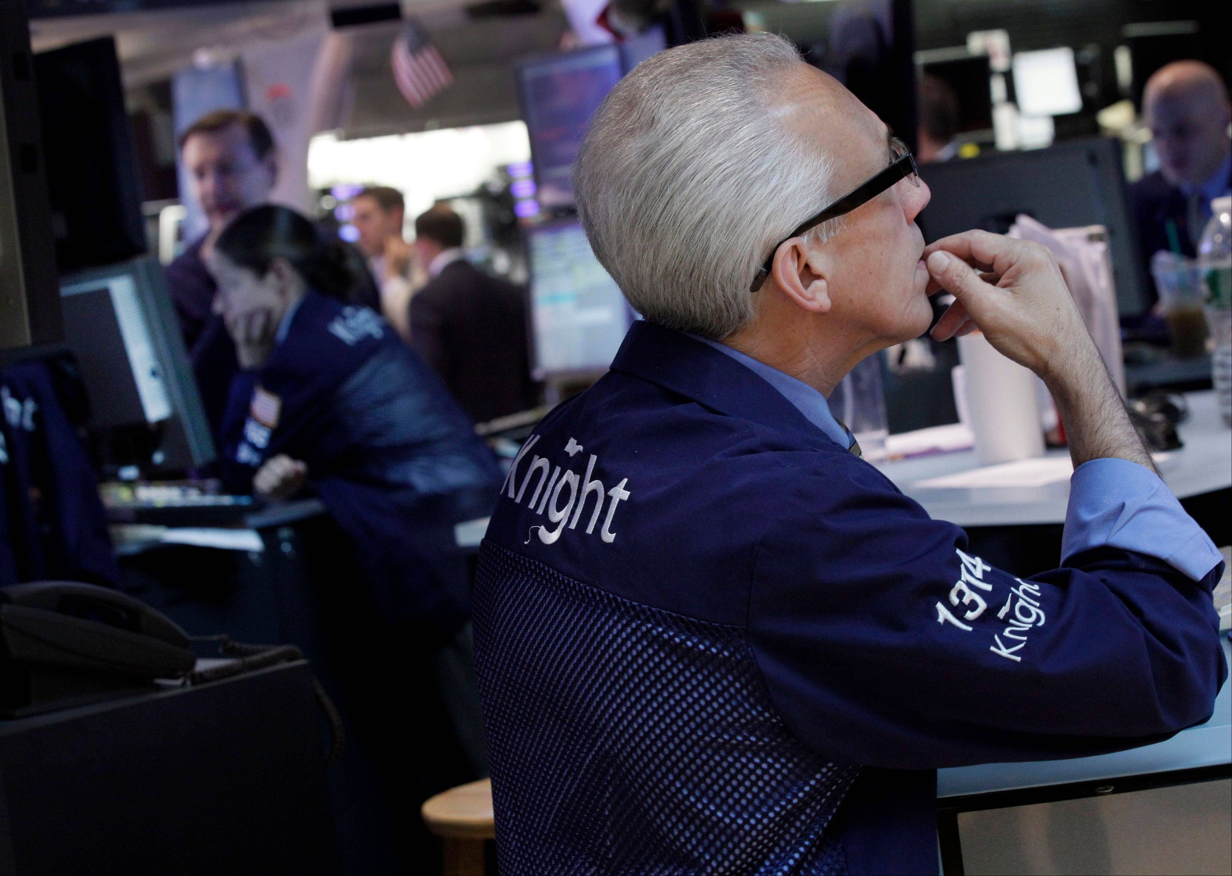 U.S. stocks retreated, trimming the third straight monthly advance for the benchmark Standard & Poor�s 500 Index, amid concern about a worsening of Europe�s debt crisis and of a further slowdown of the global economy.
