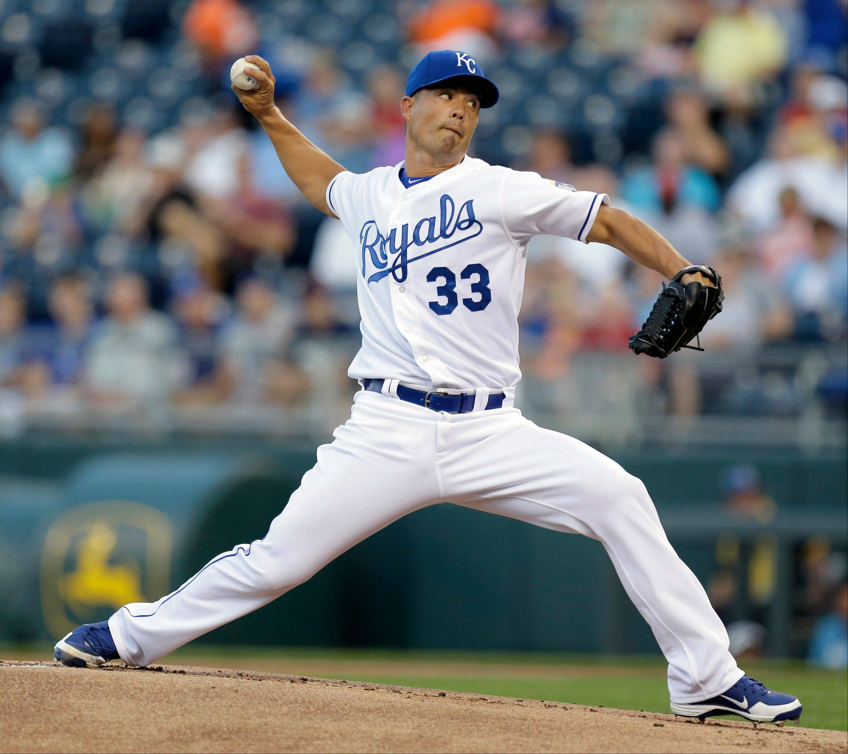 Kansas City Royals starting pitcher Jeremy Guthrie walked none and struck out three Thursday in a home win over Detroit.