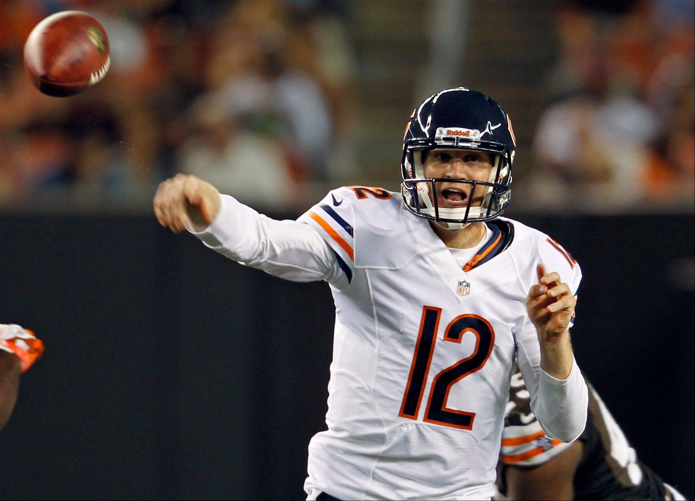 Chicago Bears quarterback Josh McCown (12) throws a pass against the Cleveland Browns in the third quarter of a preseason NFL football game, Thursday, Aug. 30, 2012, in Cleveland. (AP Photo/Ron Schwane)