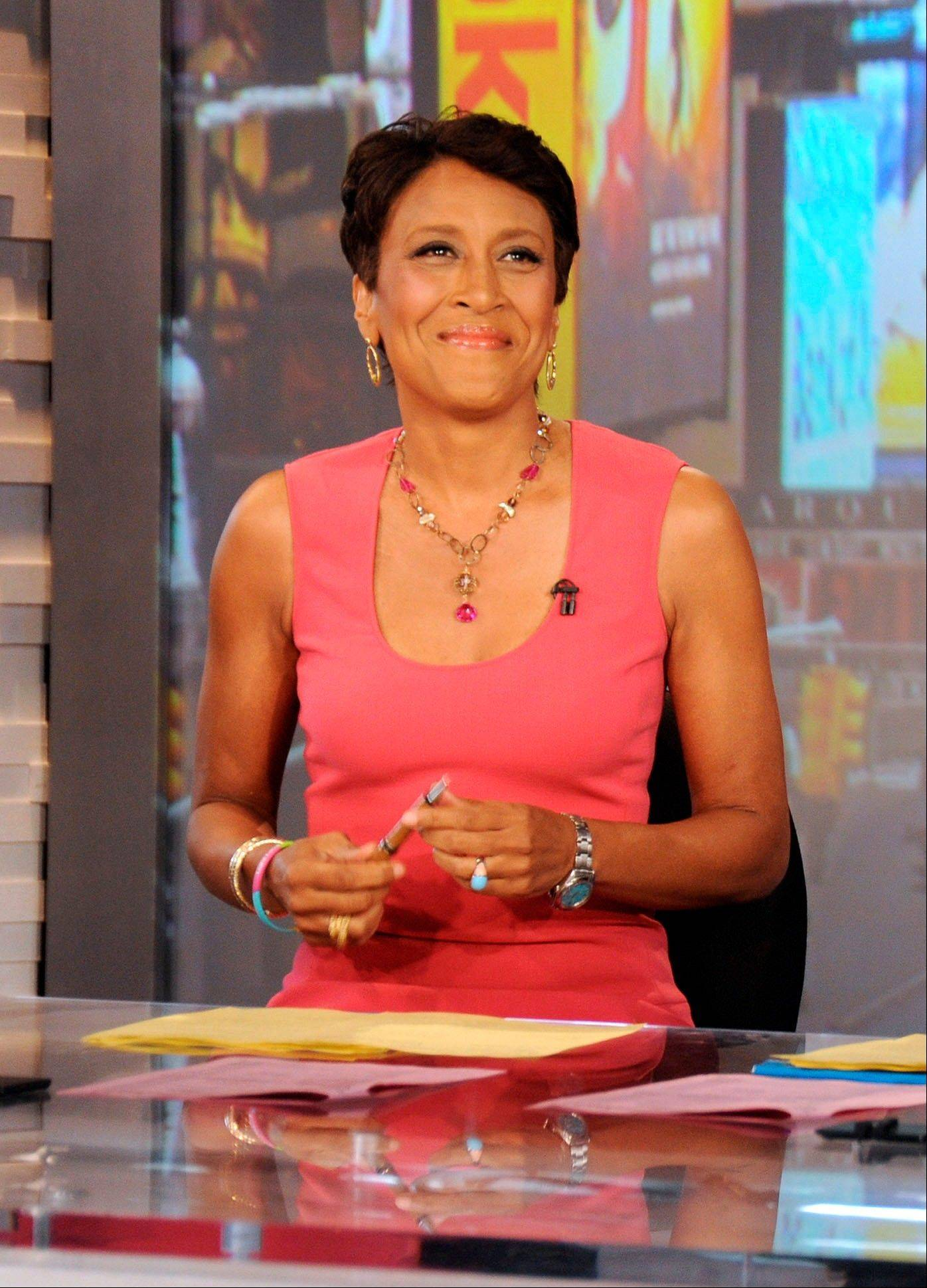 "Robin Roberts, co-host of ""Good Morning America,"" said goodbye Thursday while she goes on medical leave for a bone-marrow transplant."