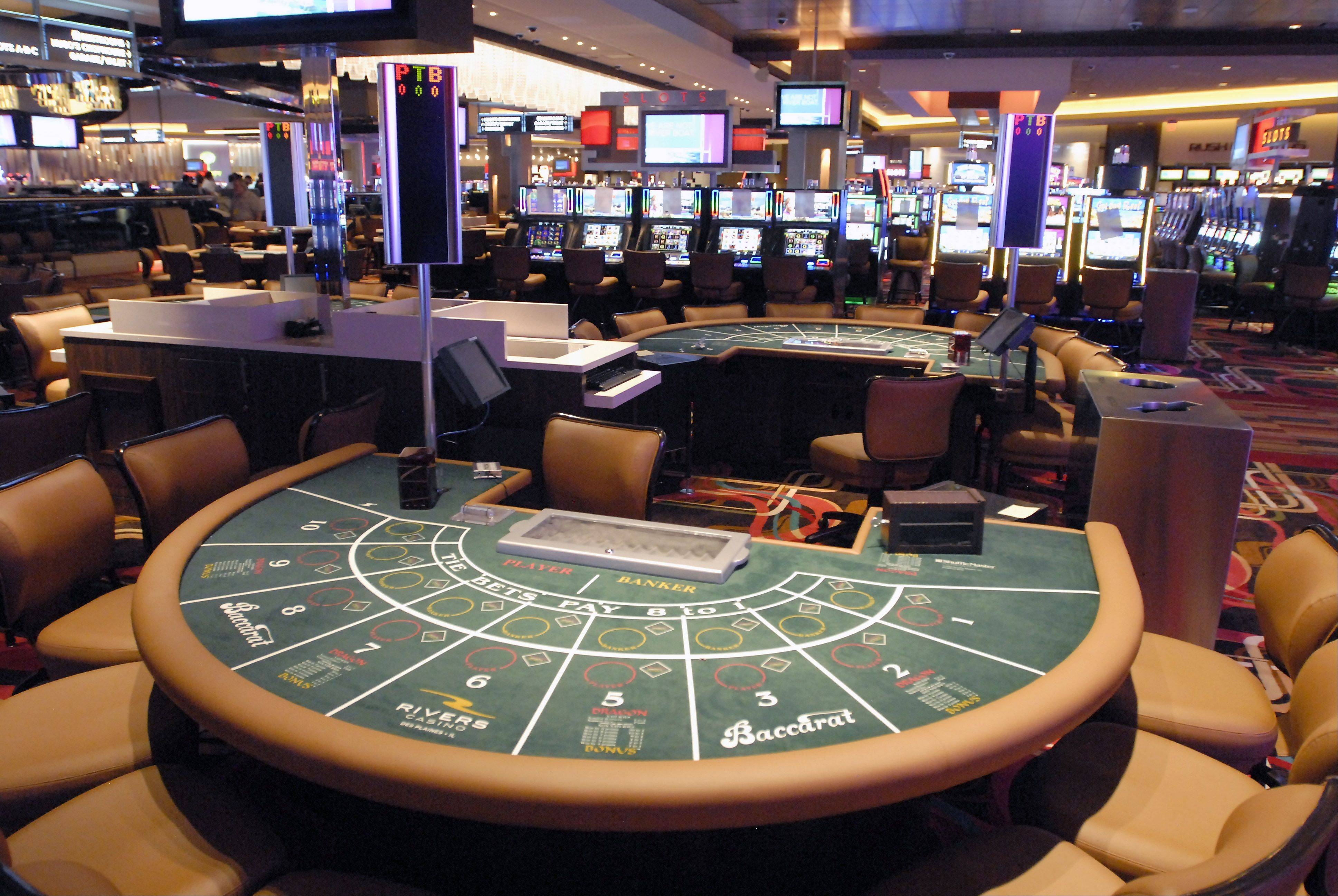 A Baccarat table is one of 48 table game stations at the Rivers Casino in Des Plaines.