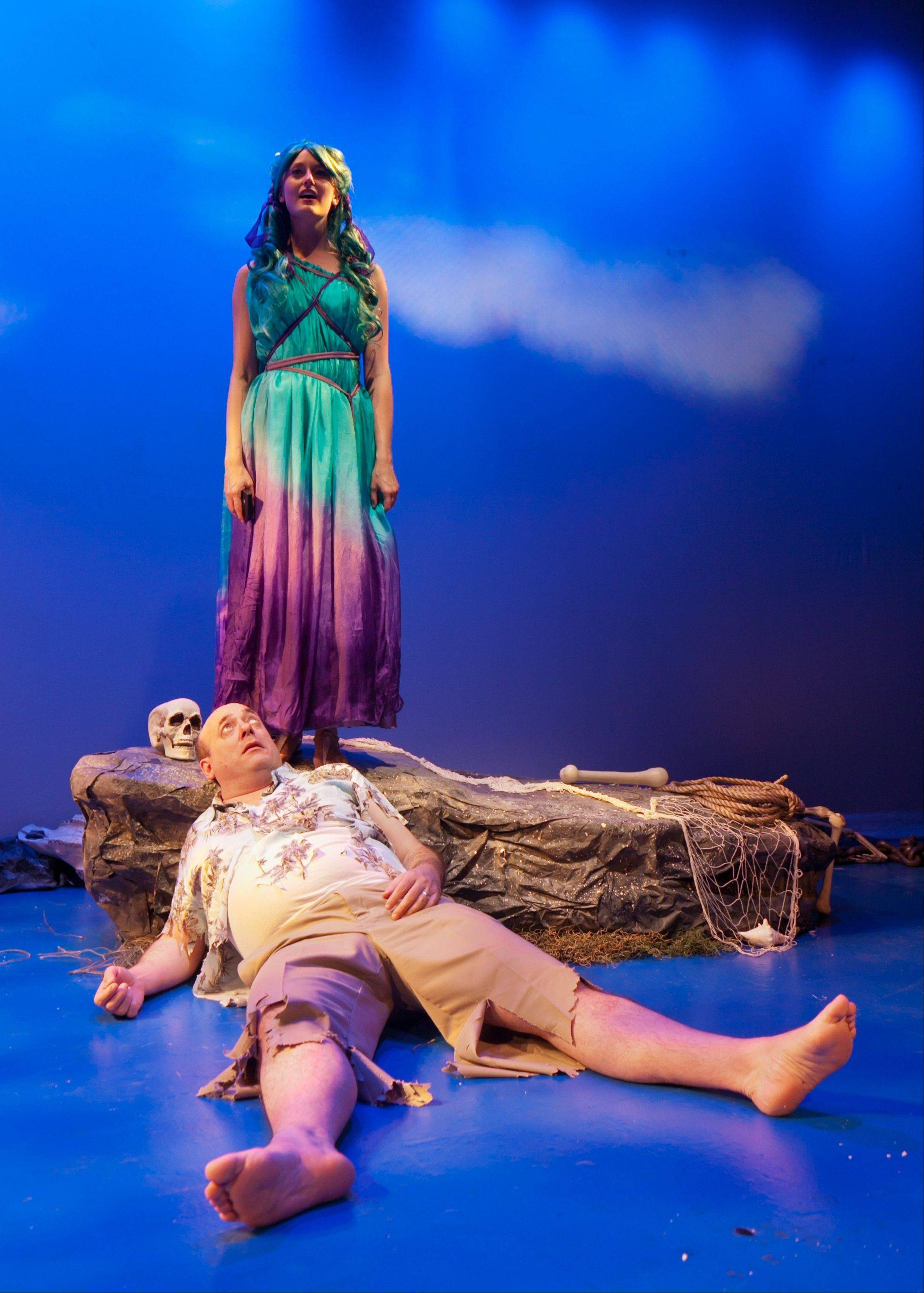 "Songwriter Sam Abrams (Bill Bannon) is marooned on a magical Mediterranean island by a mythological Siren (Angela Sprinkle) in Fox Valley Repertory's production of Deborah Zoe Laufer's romantic comedy ""Sirens."""