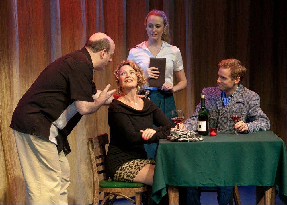 "Songwriter Sam Abrams (Bill Bannon) tries to convince his wife, Rose Adelle (Liz Zweifler), to hear his newly composed song in front of a waitress (Angela Sprinkle) and Rose's former college flame, Richard Miller (Samuel Taylor), in Fox Valley Repertory's production of Deborah Zoe Laufer's romantic comedy ""Sirens."""