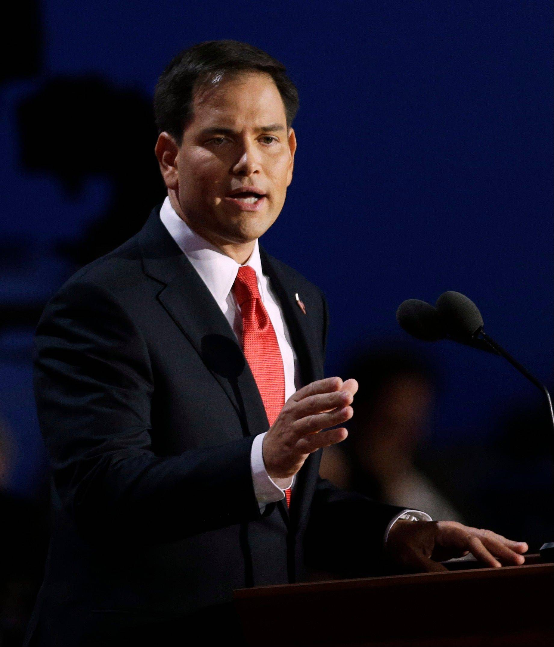 Florida Senator Marco Rubio addresses delegates Thursday during the Republican National Convention in Tampa, Fla.