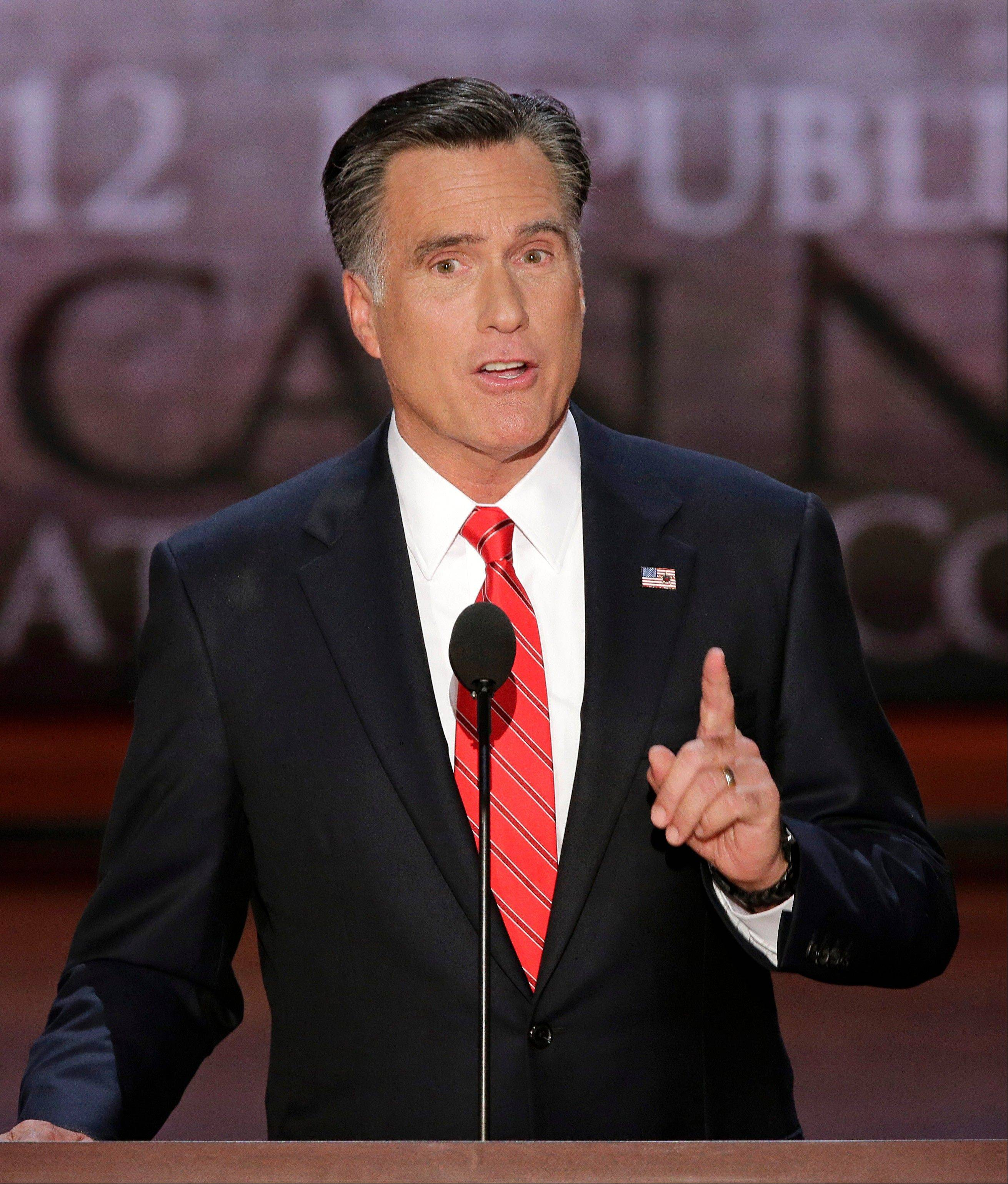 Republican presidential nominee Mitt Romney addresses the Republican National Convention in Tampa, Fla., on Thursday.