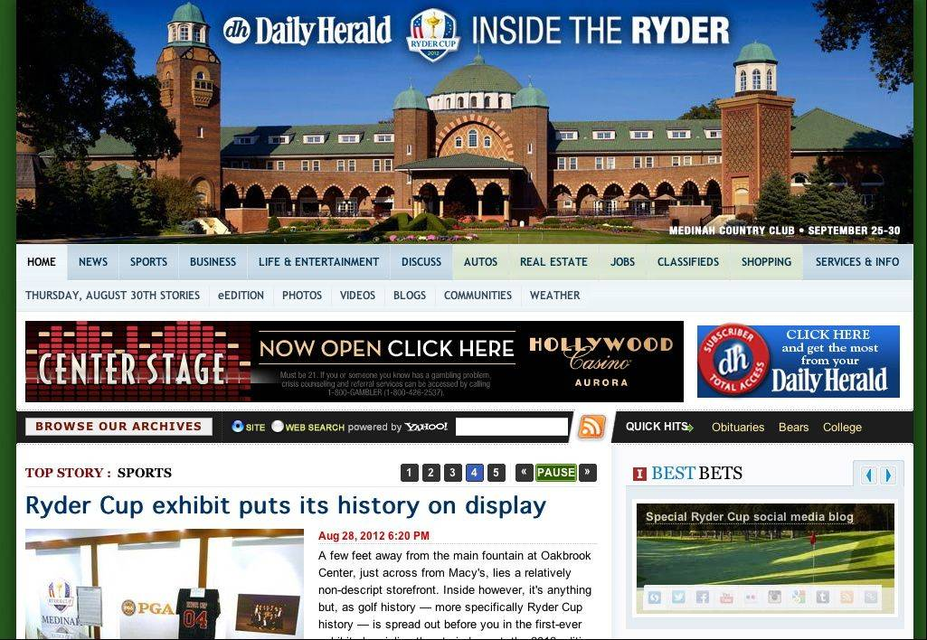 The new Ryder Cup page being introduced on dailyherald.com