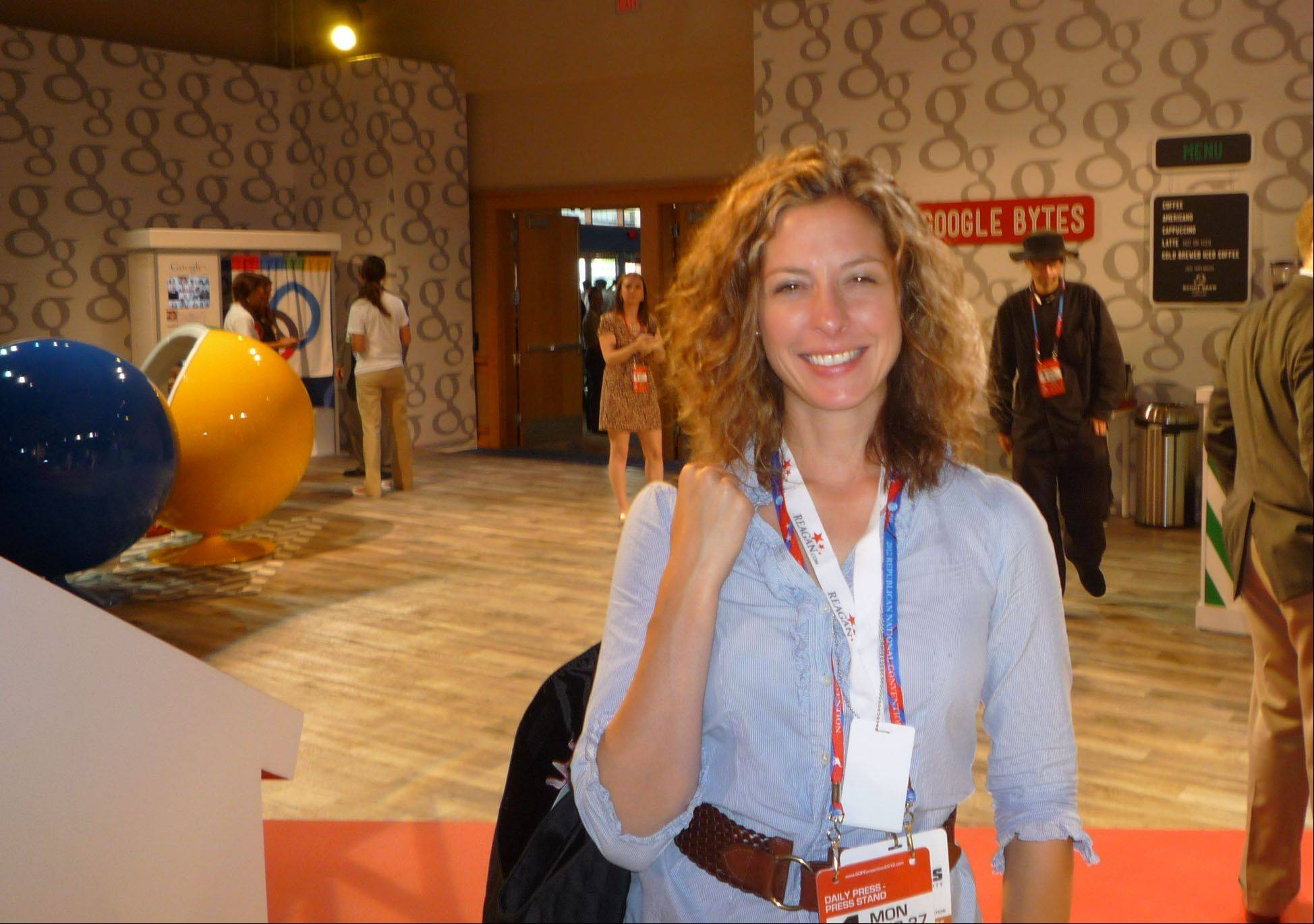 Daily Herald reporter Kerry Lester at the 2012 Republican Convention in Tampa, FL.