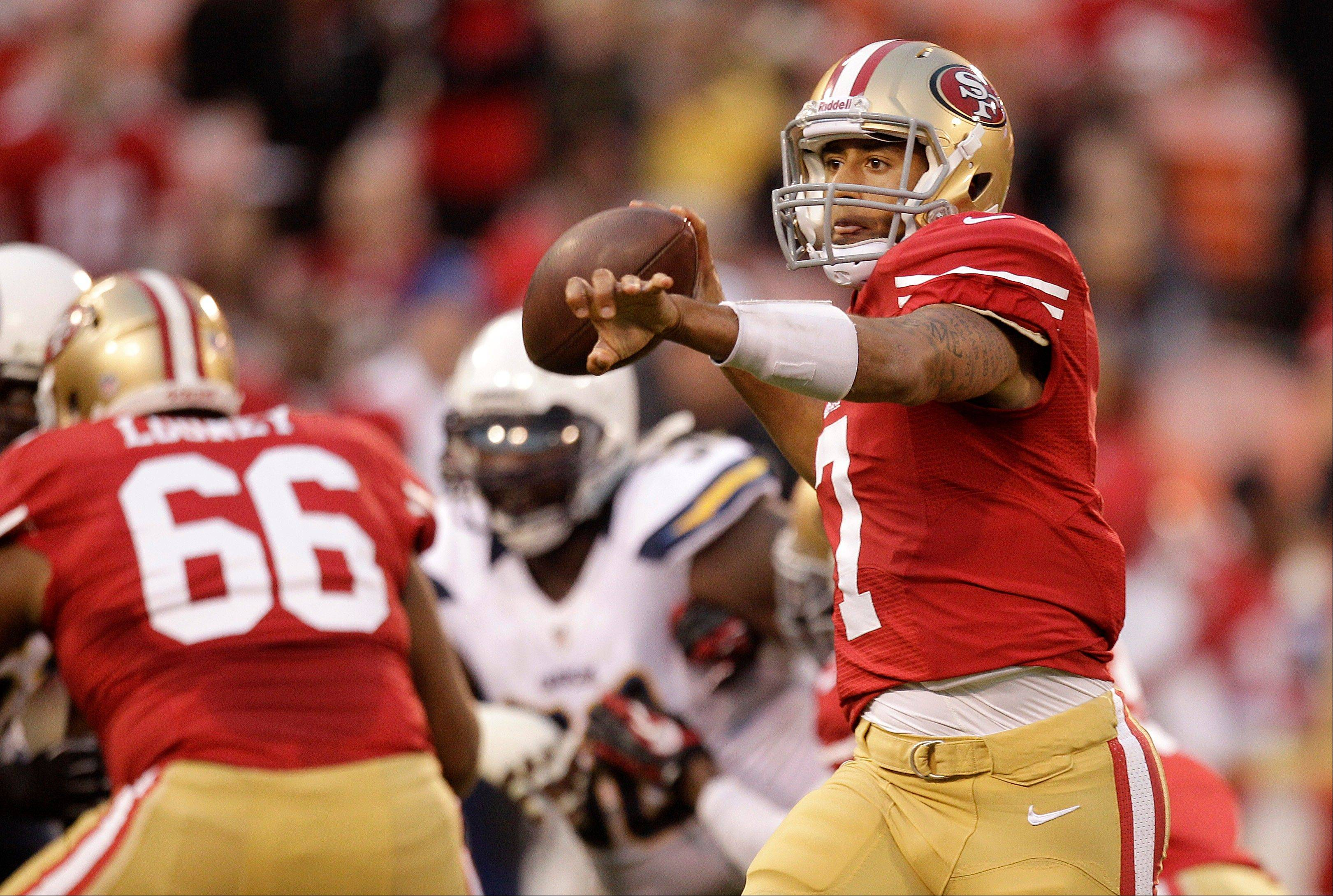 San Francisco 49ers quarterback Colin Kaepernick (7) passes against the San Diego Chargers during the first quarter of a preseason game Thursday in San Francisco.