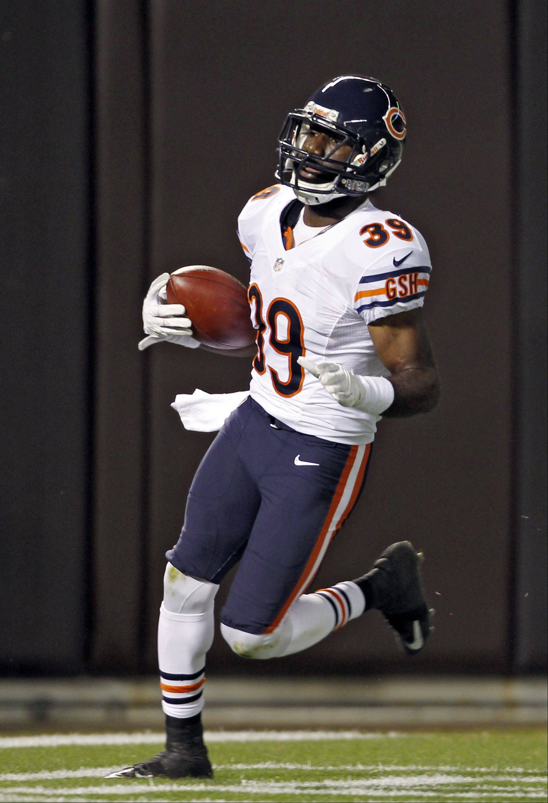 Chicago Bears cornerback Greg McCoy runs into the end zone with an interception in the third quarter of a preseason NFL football game against the Cleveland Browns Thursday, Aug. 30, 2012, in Cleveland. Originally ruled an incomplete pass, the call res reversed after a challenge.