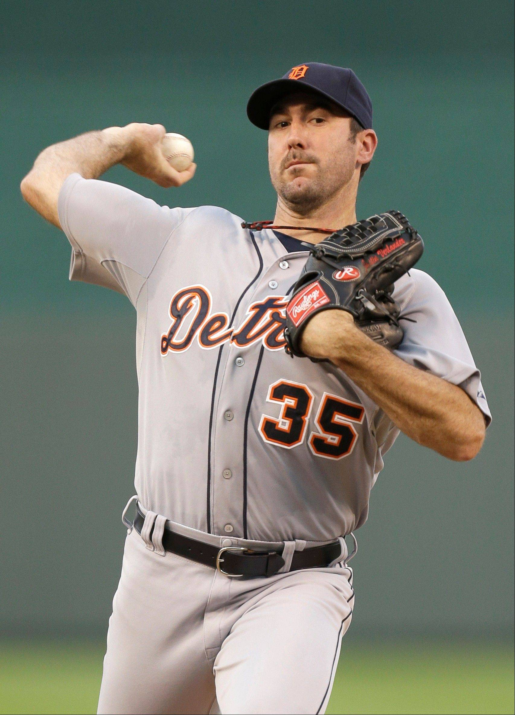 Detroit Tigers starting pitcher Justin Verlander throws Tuesday against the Kansas City Royals.