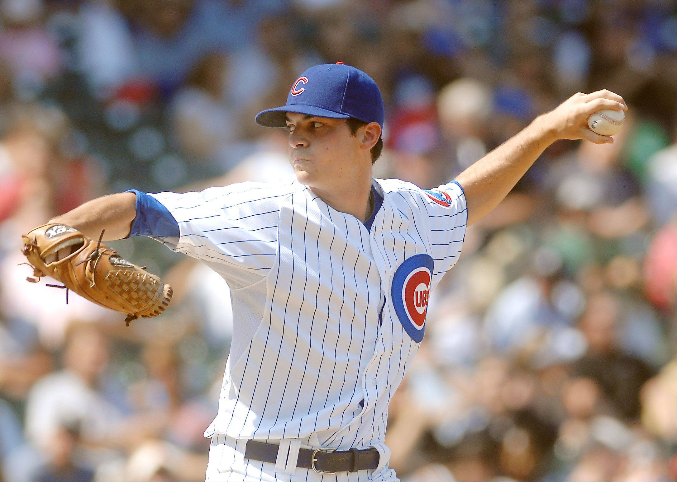 Chicago Cubs starting pitcher Brooks Raley delivers a pitch.