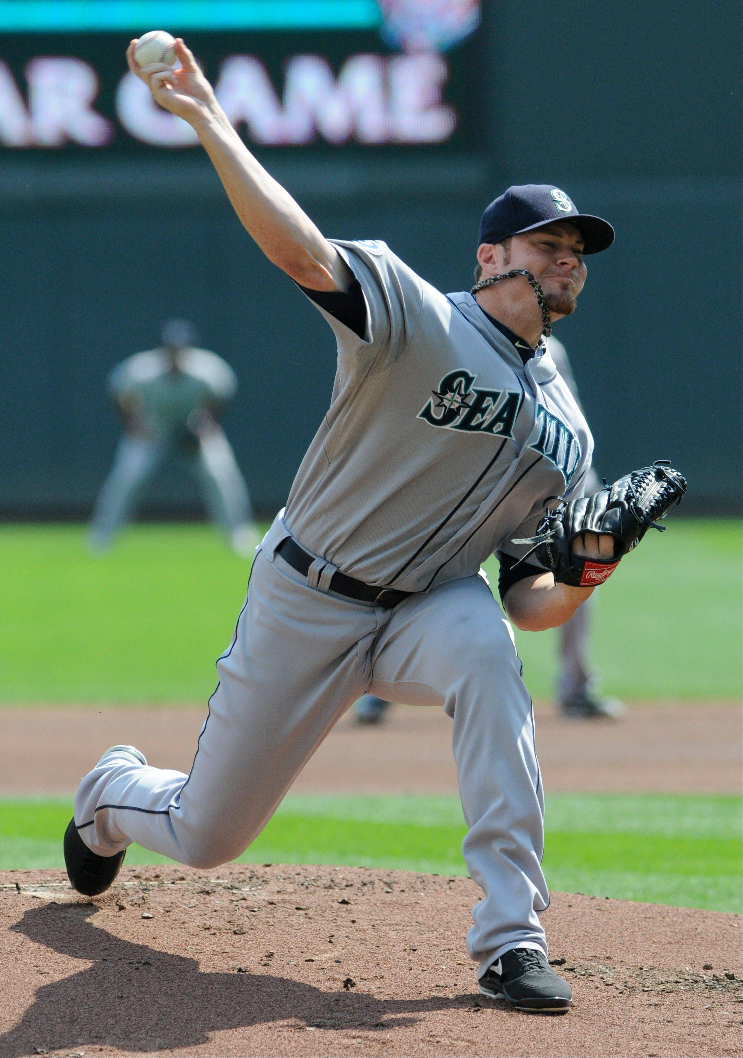 Seattle pitcher Blake Beavan scattered five hits, walked two and struck out one Thursday for a victory in Minneapolis.