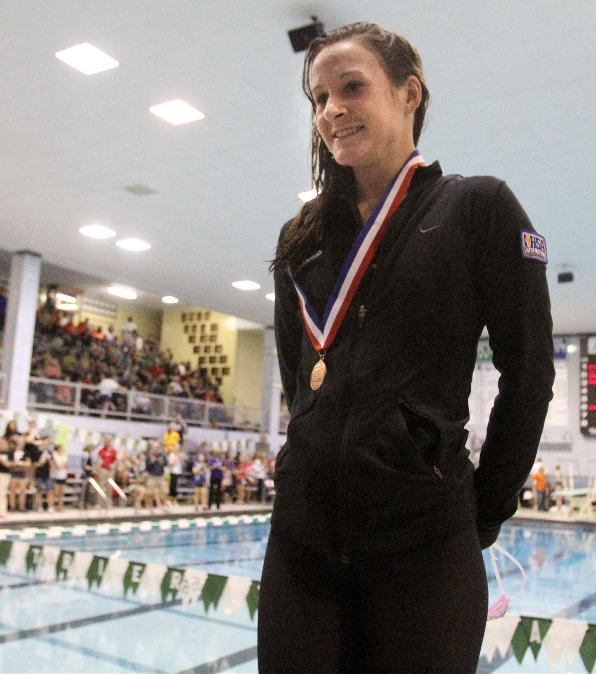 Prairie Ridge's Marisa Barton placed third in the 50-yard freestyle at the state championships in Winnetka last fall. She's back in action for her senior year.