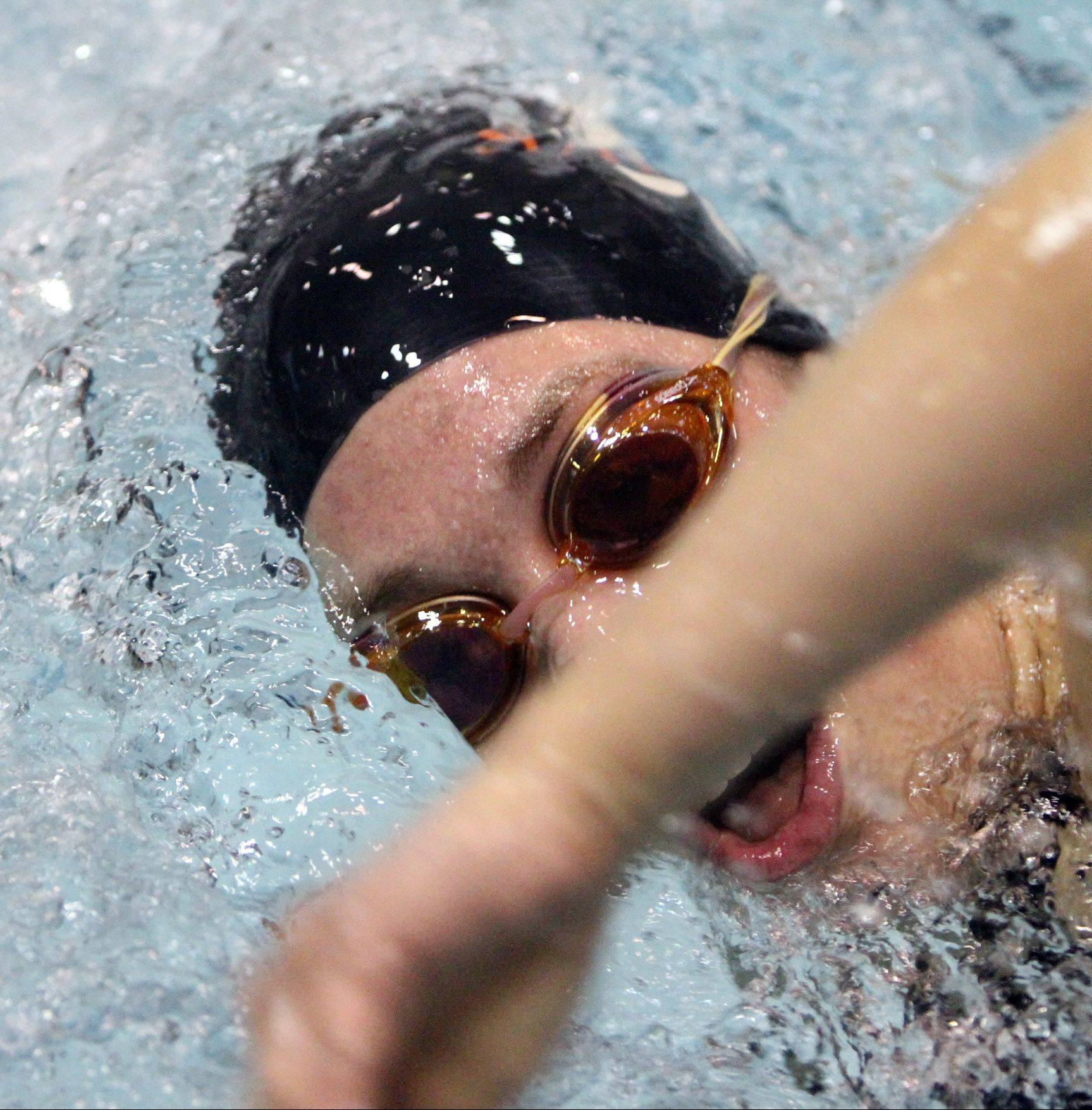 St. Charles East Izzie Bindseil swims the 200-yard freestyle at the state preliminaries last November.