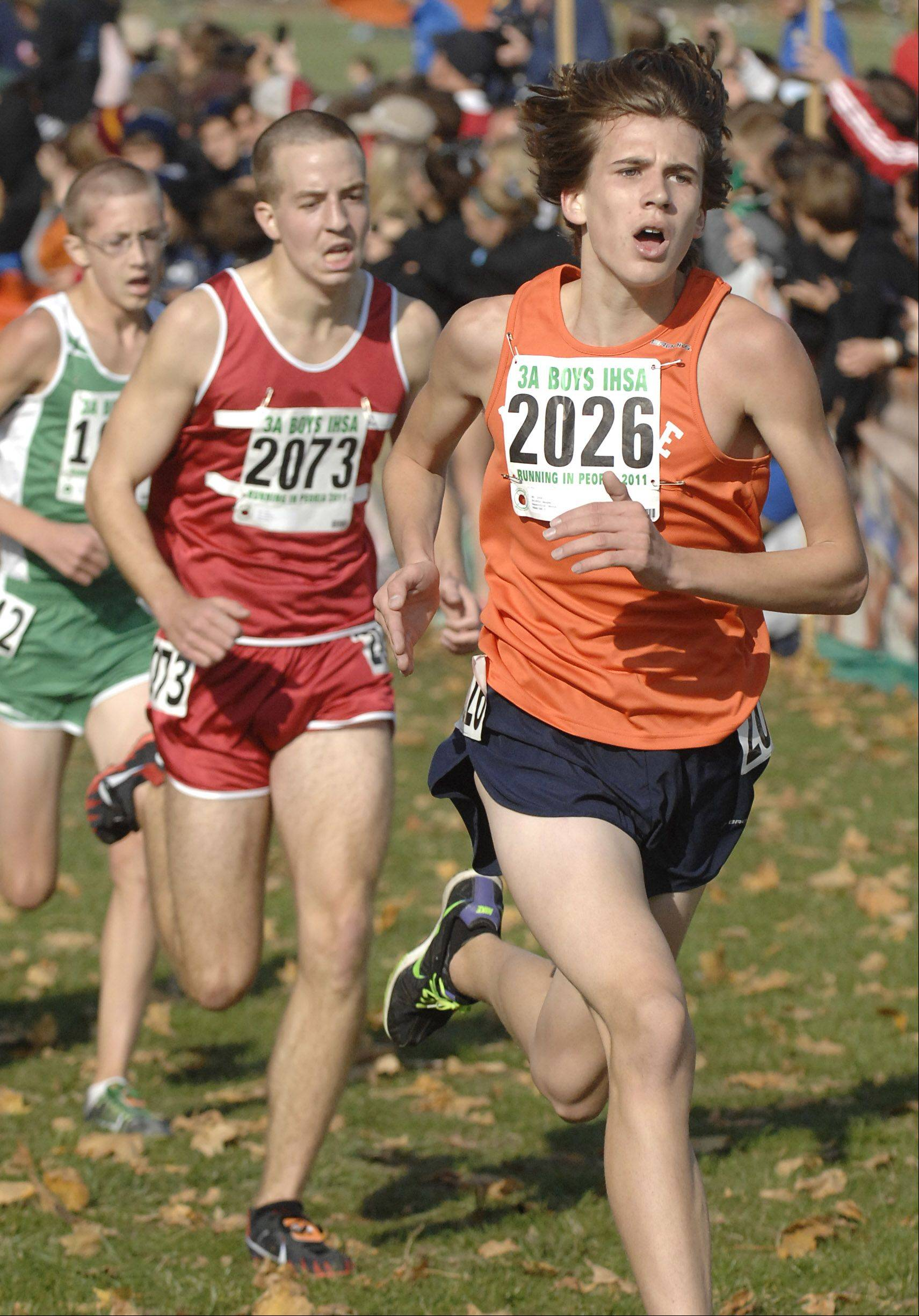 Naperville North's Griffin Haugen comes in 27th place with a time of 15:04 in the 3A state cross country final in Peoria on Saturday, November 5.
