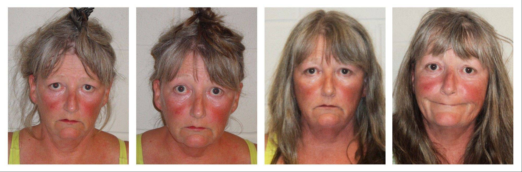 This series of booking photos, released by the Epping, N.H., Police Department, shows Joyce Coffey, arrested four times in 26 hours Tuesday and Wednesdsay, three times for playing loud music.