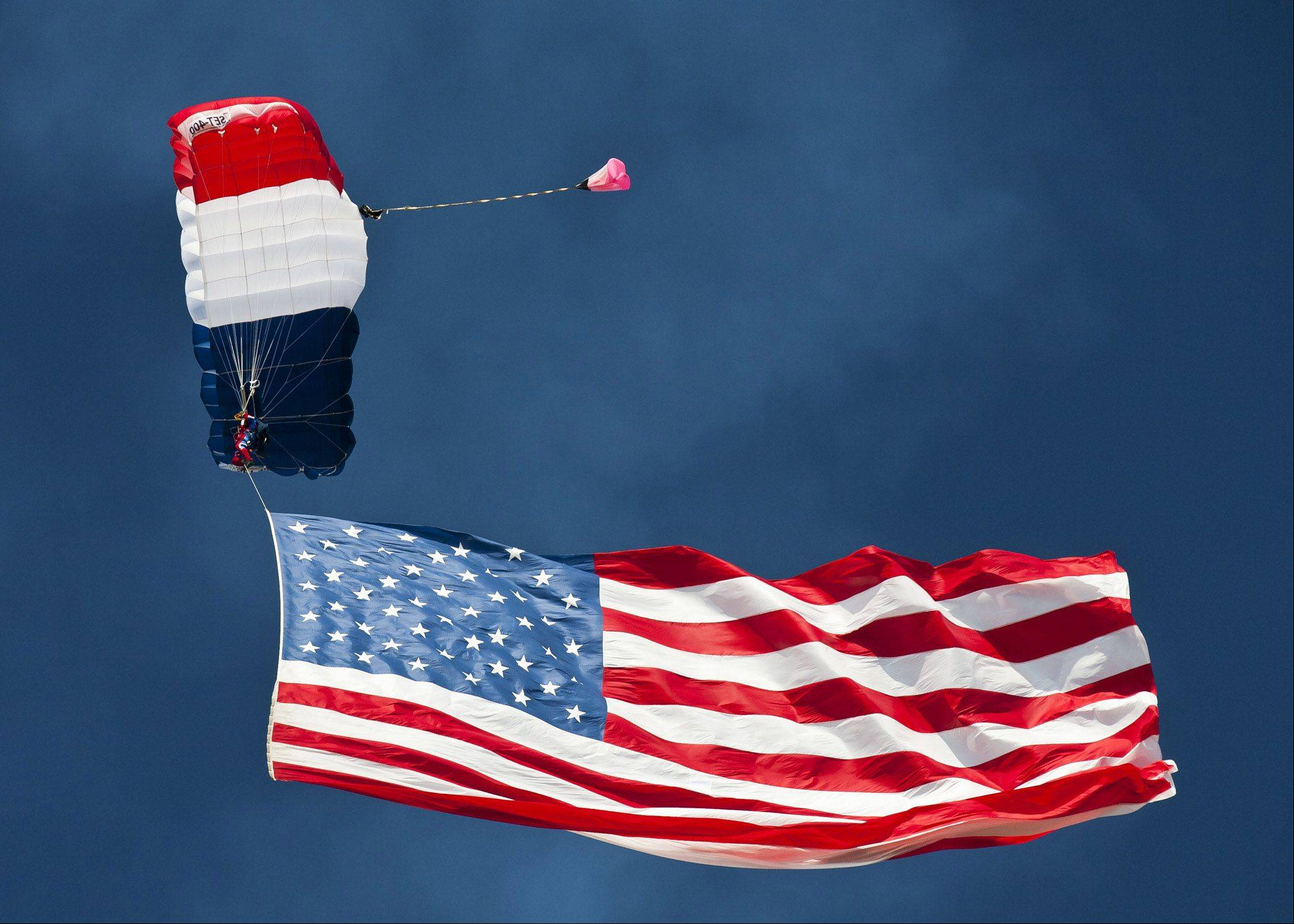A parachute demonstration during the EAA Oshkosh Airshow on July 28.