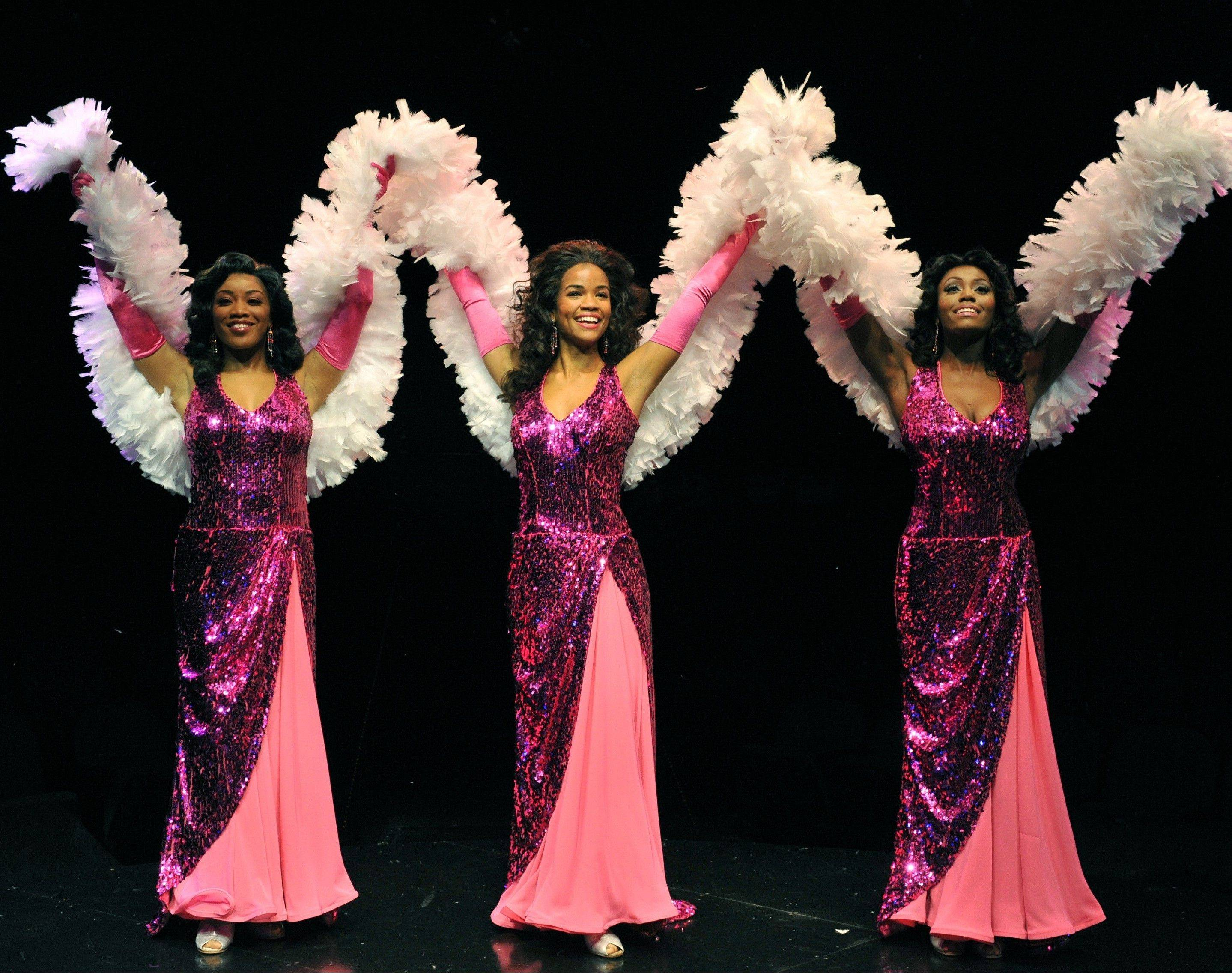 "Darilyn Burtley, right, makes her professional debut as Michelle in Marriott Theatre's revival of ""Dreamgirls."" Marc Robin directs and choreographs the production, which stars Britney Coleman, center, as Deena and Rashidra Scott, left, as Lorrell."