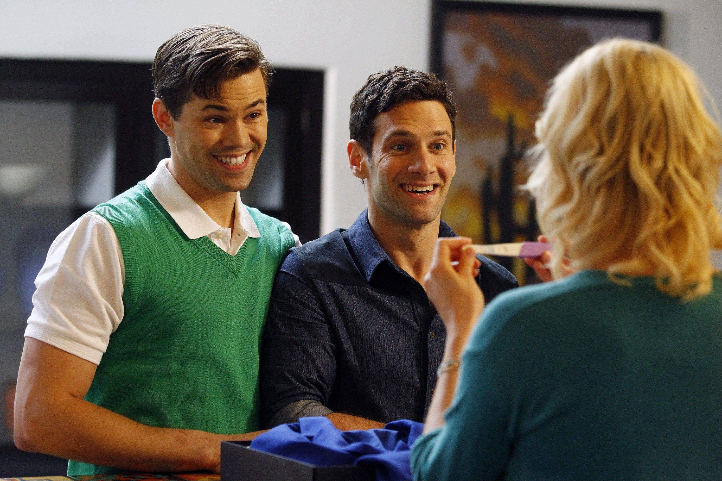 "A gay couple (Andrew Rannells, left, and Justin Bartha) try to expand their family in ""The New Normal."""