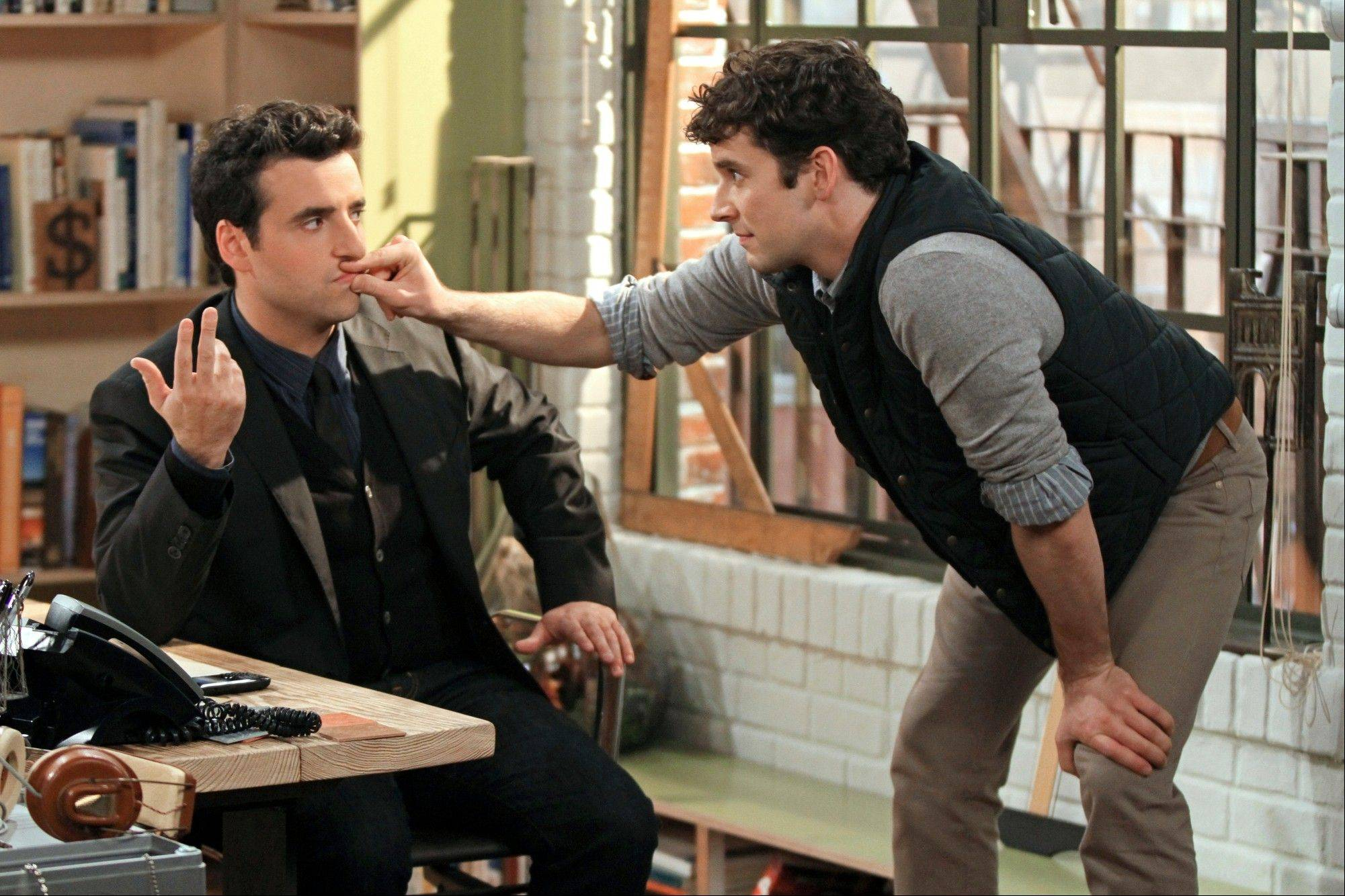 "The friendship between Joe (David Krumholtz), left, and Louis (Michael Urie) is tested by Joe's engagement in CBS' ""Partners."""