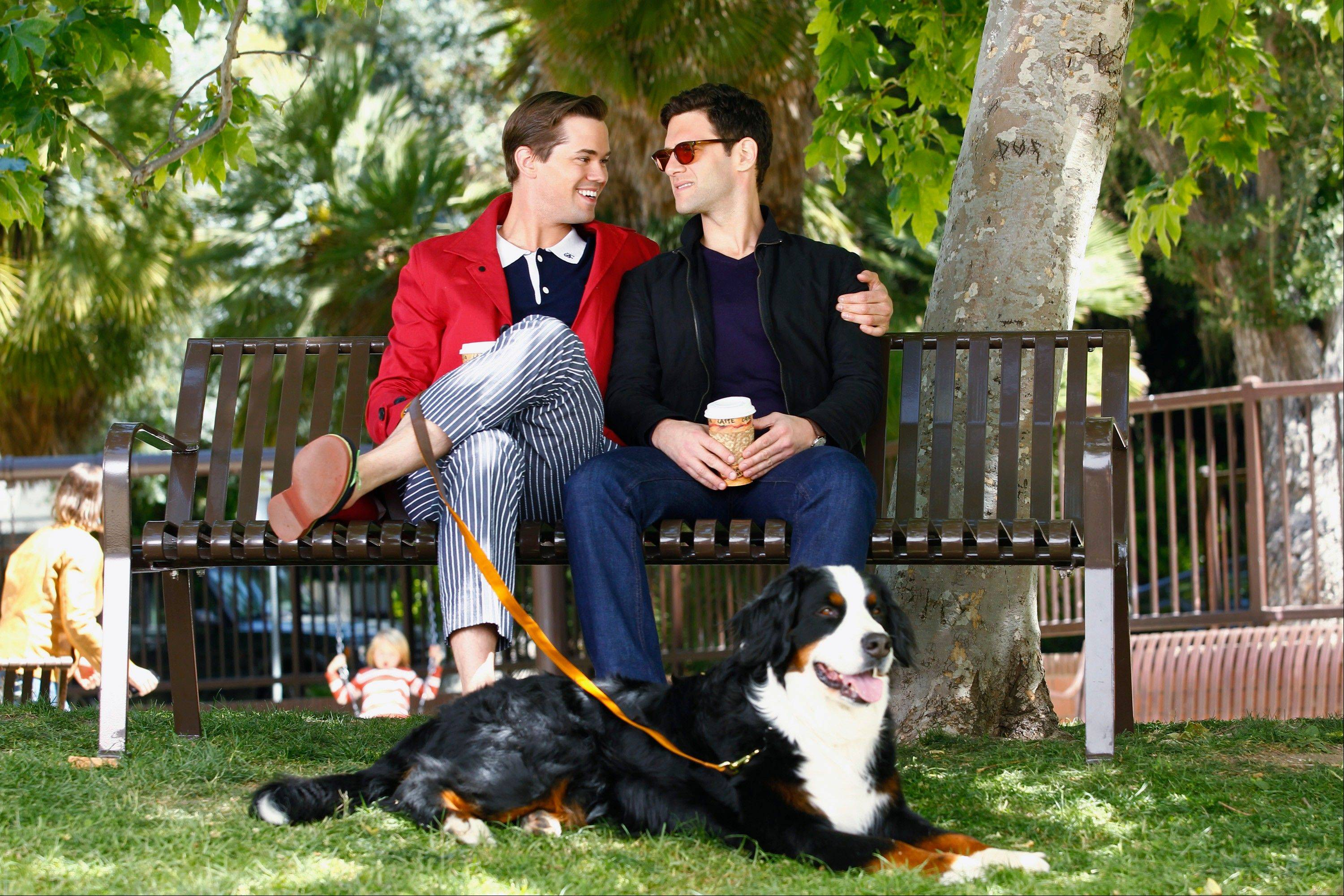 "A gay couple (Andrew Rannells, left, and Justin Bartha) decides to use a surrogate to have a baby in ""The New Normal,"" premiering on NBC."