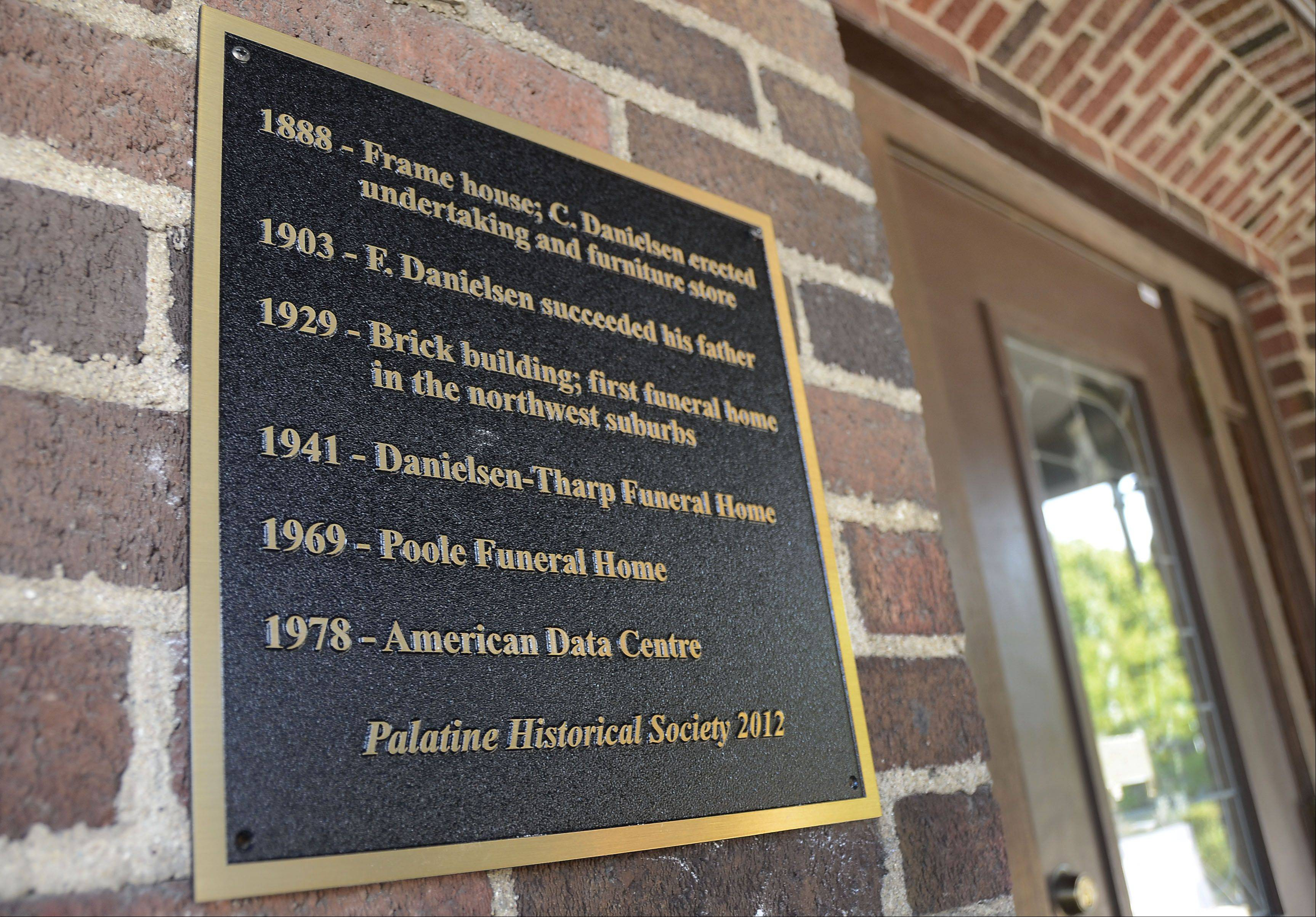 The Palatine Historical Society is erecting several plaques at sites of historical significance, including this one at 25 W. Palatine Road.