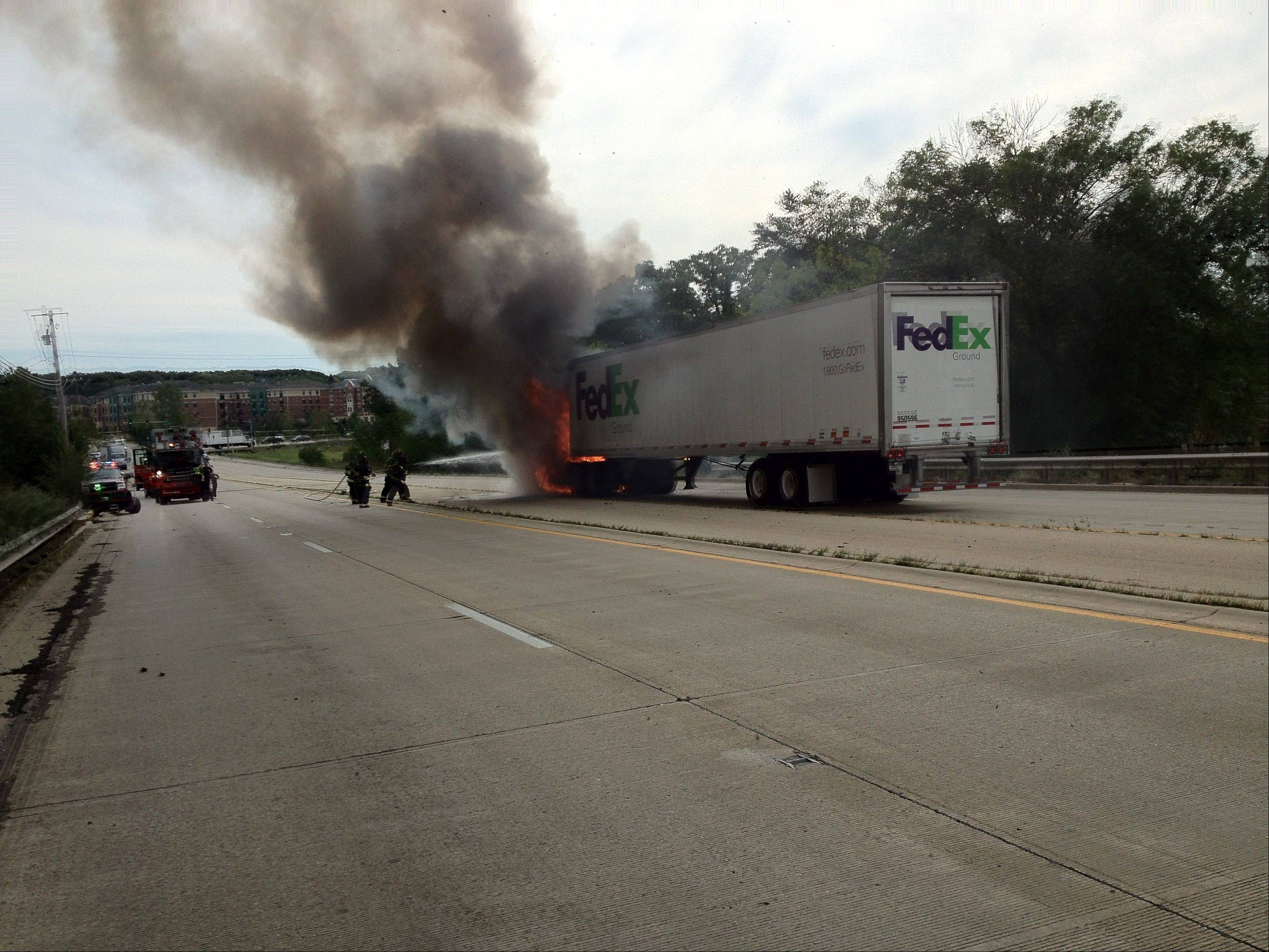 Bartlett Fire Protection District firefighters extinguished a truck fire Friday on Route 59.