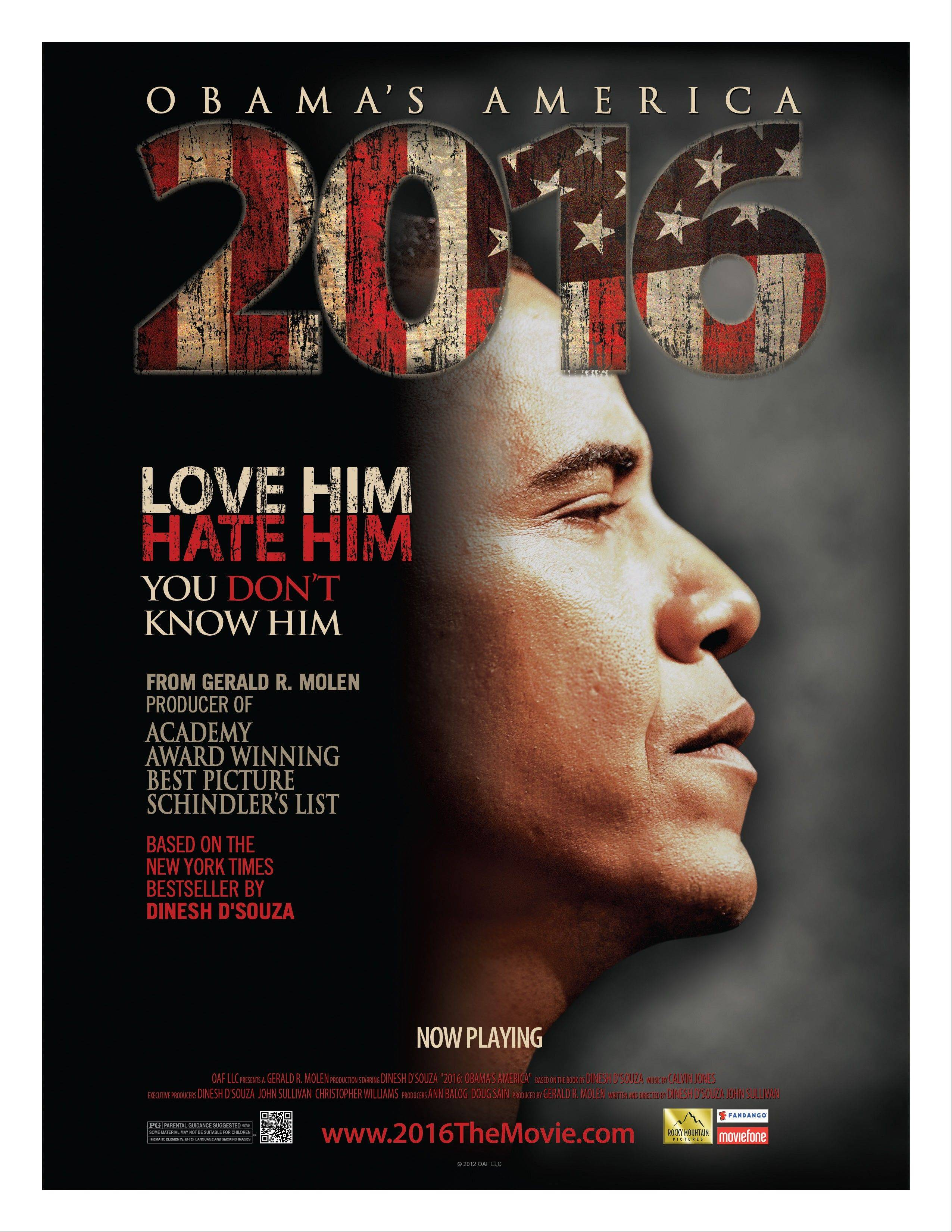 "This undated publicity photo released by Rocky Mountain Pictures shows a poster for the documentary film, ""2016: Obama's America."""