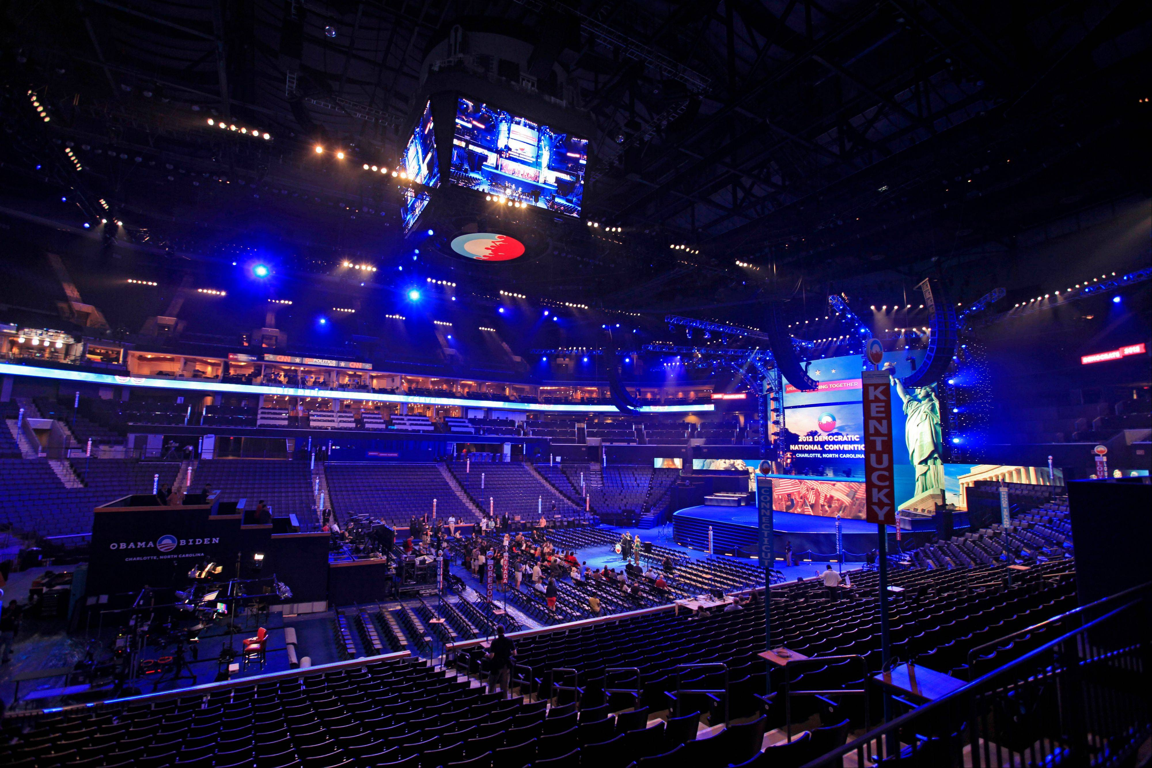 The main floor of Time Warner Cable Arena is shown Friday during the public unveiling of Democratic National Convention's facilities in Charlotte, N.C.