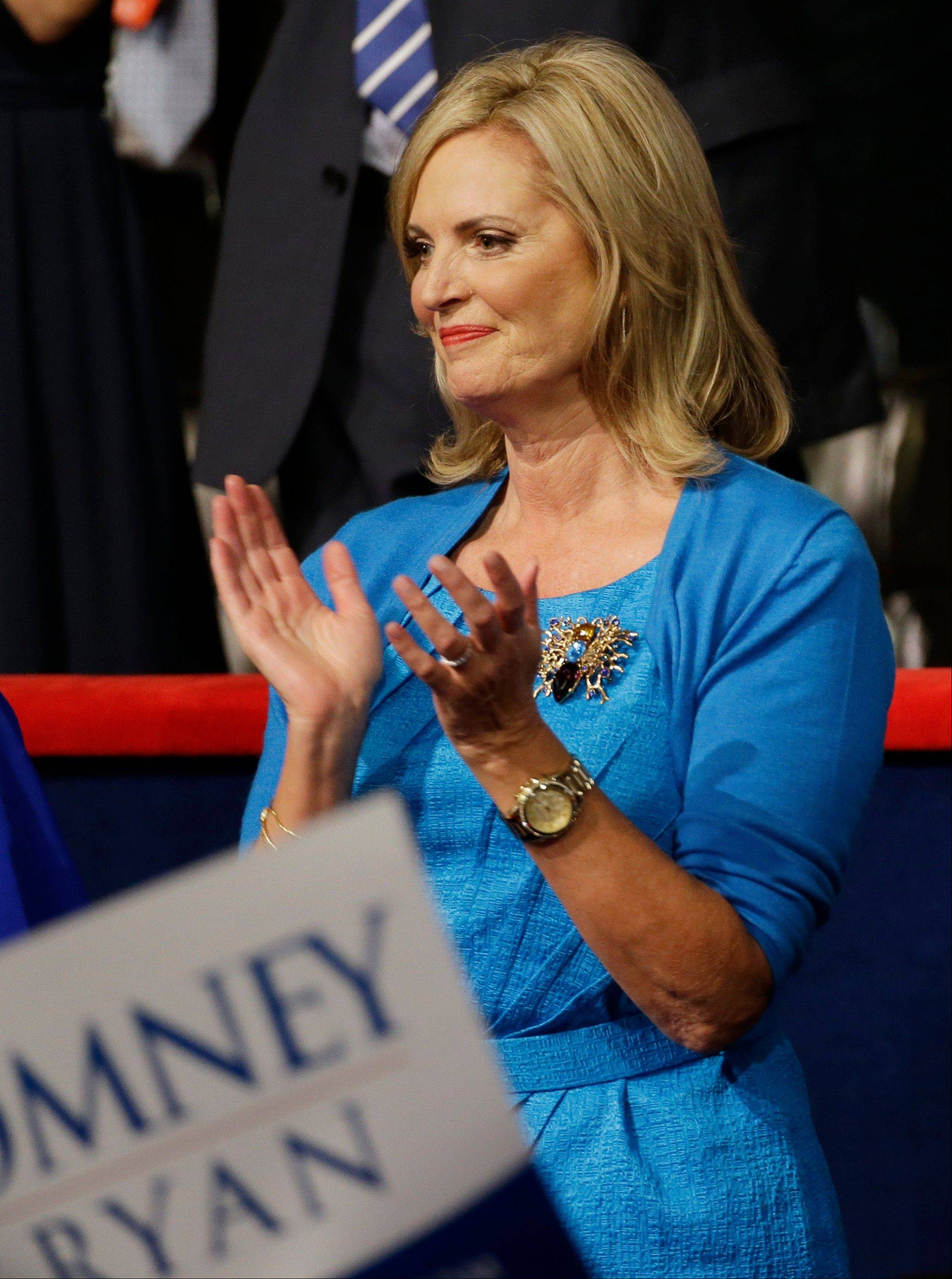 "Ann Romney, wife of U.S. Republican presidential nominee Mitt Romney. ""Ann is doing it right,"" said Stylesight's Sharon Graubard, who calls it ""an expensive suburban look.""She added: ""She's humanizing her husband, and she looks clean and friendly. Someone in our office said she looks like the Million-Dollar Mom."""