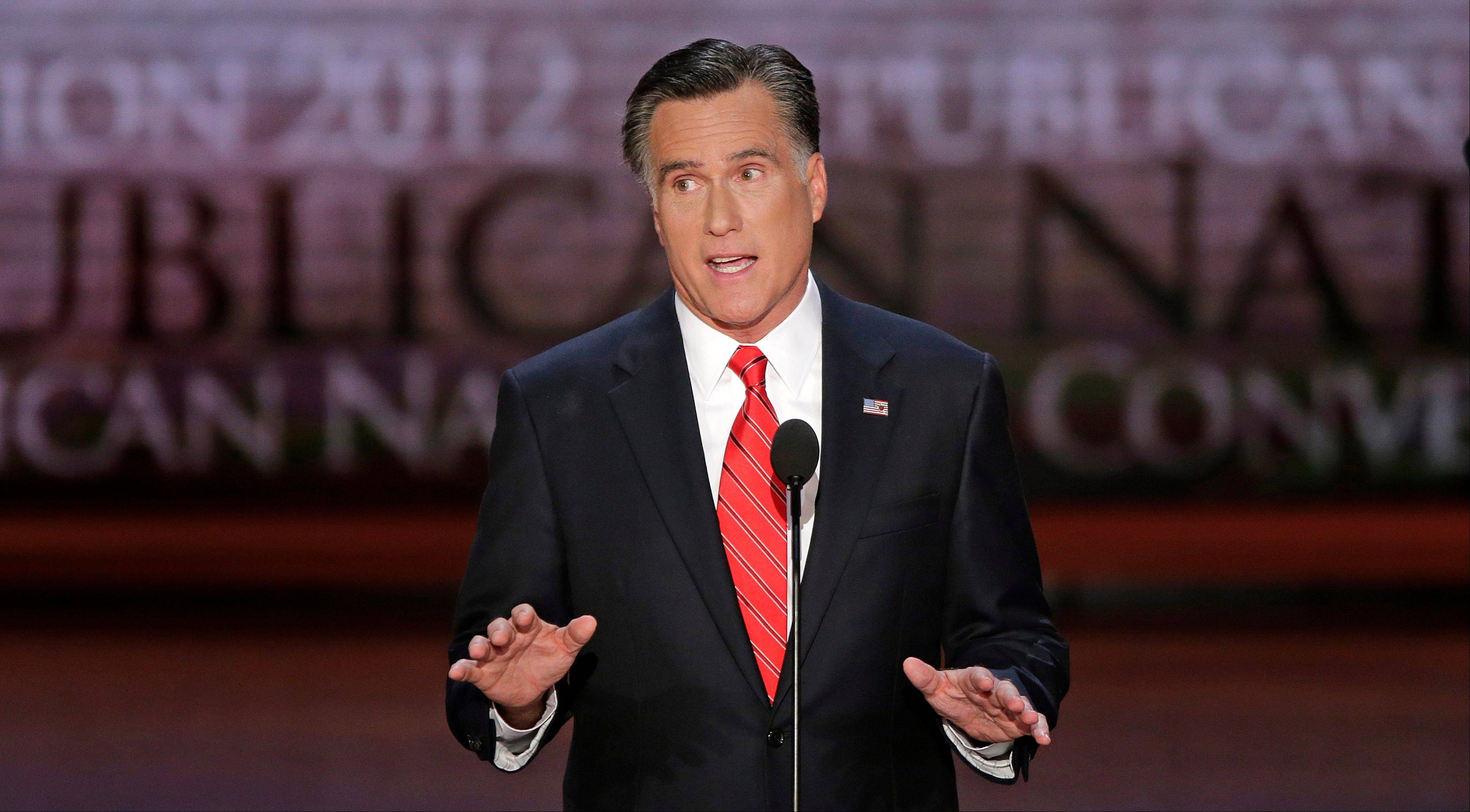 Republican presidential nominee Mitt Romney addresses the Republican National Convention in Tampa, Fla., on Thursday, Aug. 30, 2012.