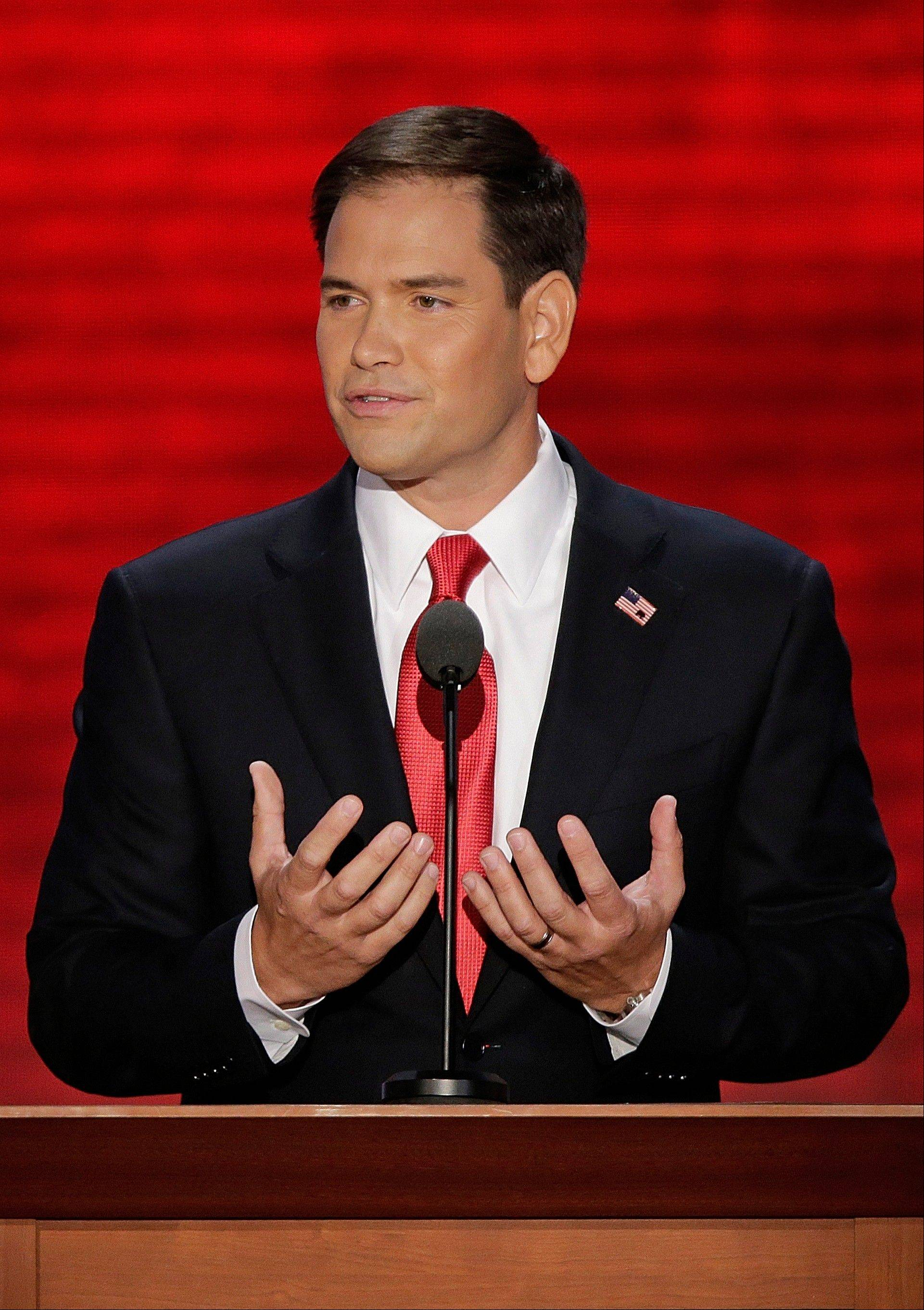 Florida Senator Marco Rubio addresses the Republican National Convention in Tampa, Fla., on Thursday, Aug. 30, 2012.