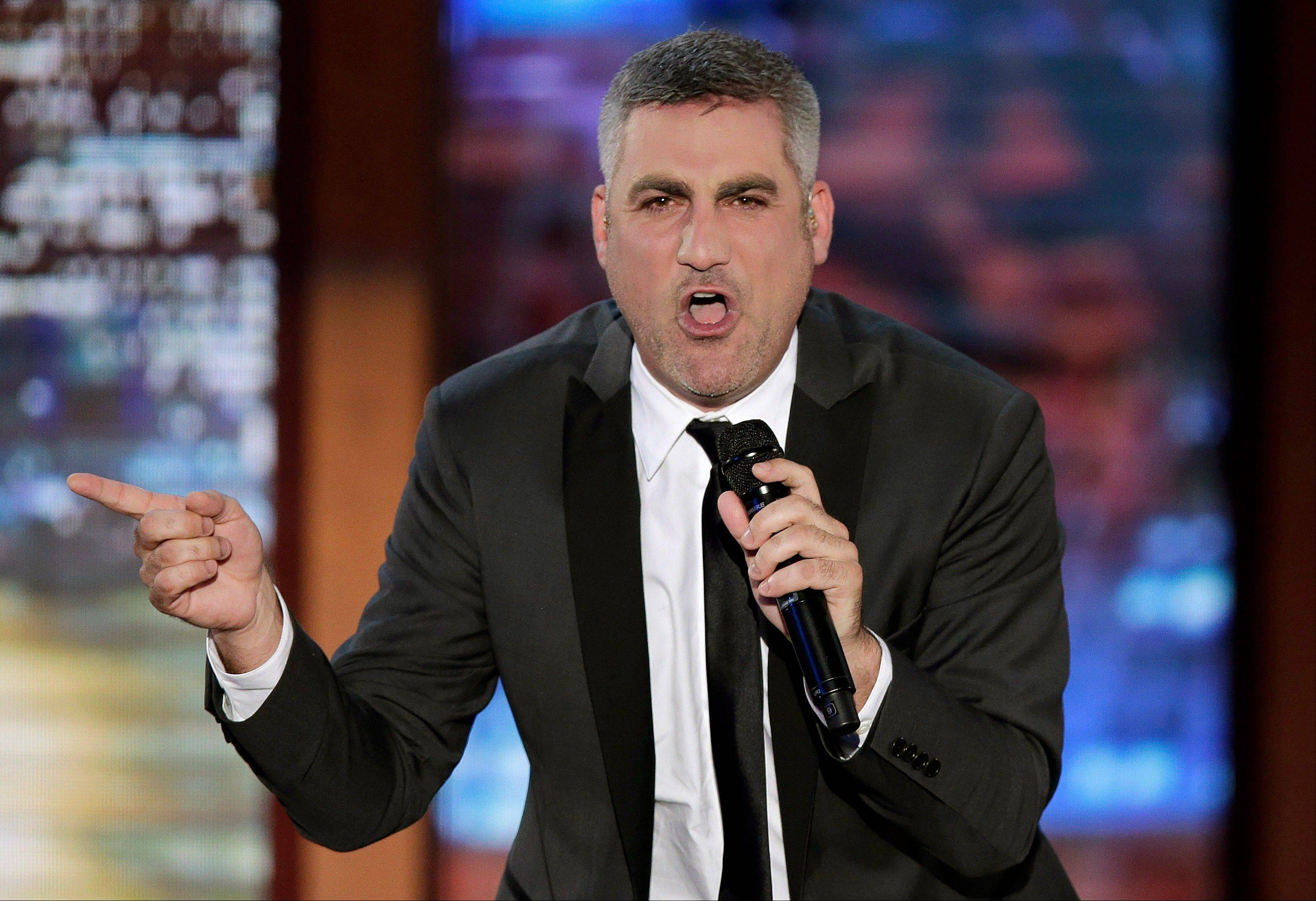 Taylor Hicks sings during the Republican National Convention in Tampa, Fla., on Thursday, Aug. 30, 2012.