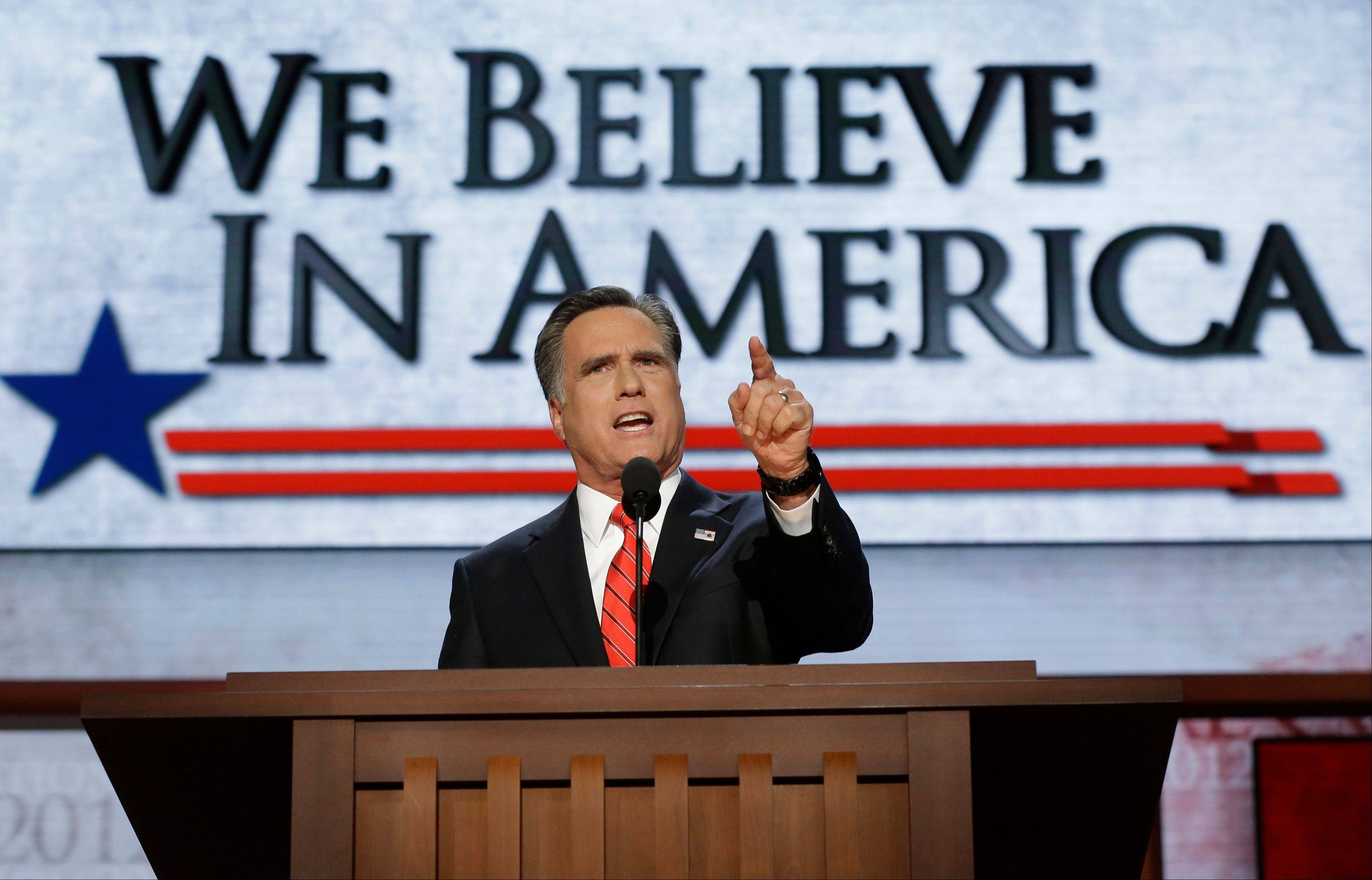 Republican presidential nominee Mitt Romney addresses delegates before speaking at the Republican National Convention in Tampa, Fla., on Thursday, Aug. 30, 2012.