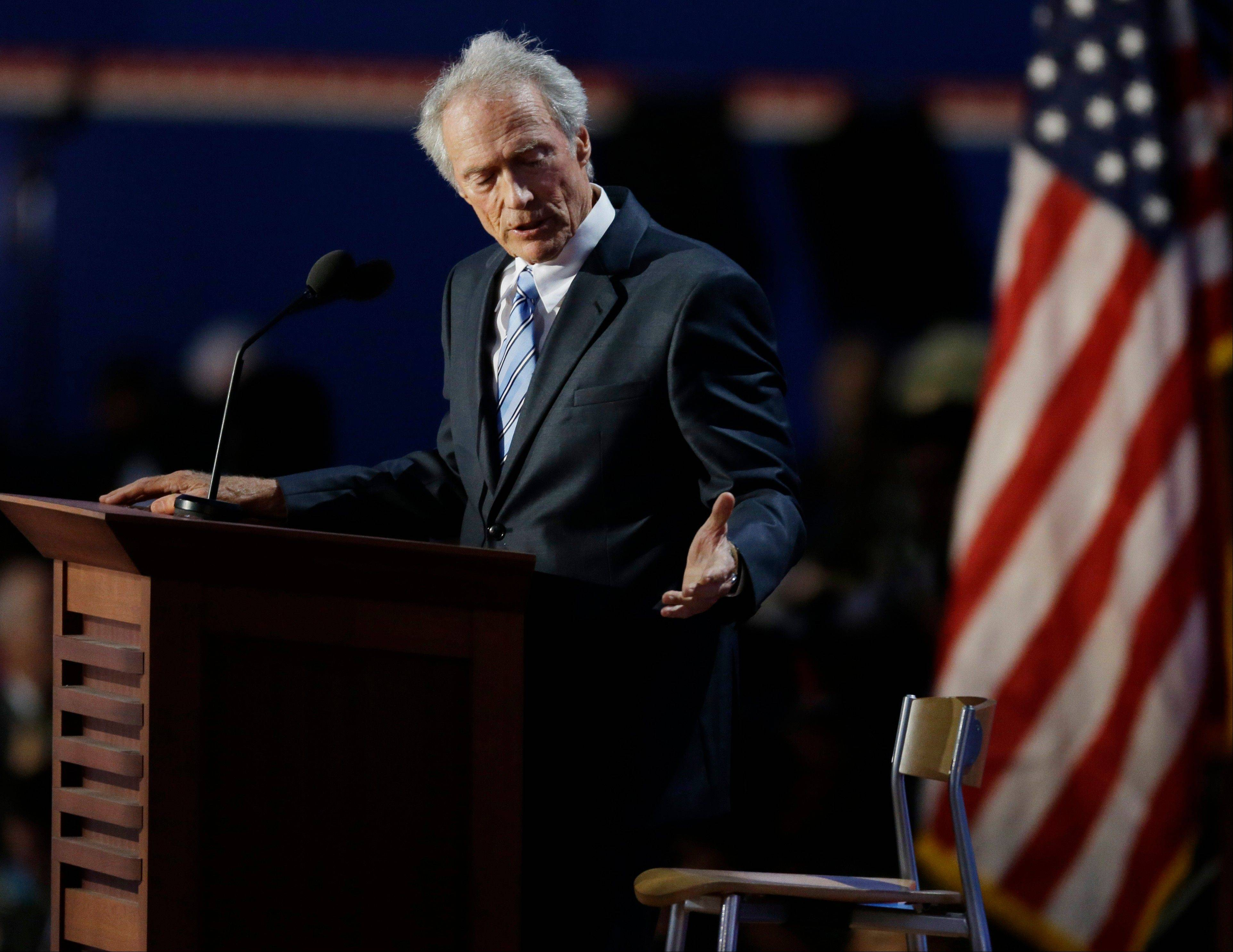 Actor Clint Eastwood speaks to an empty chair while addressing delegates during the Republican National Convention in Tampa, Fla., on Thursday, Aug. 30, 2012.