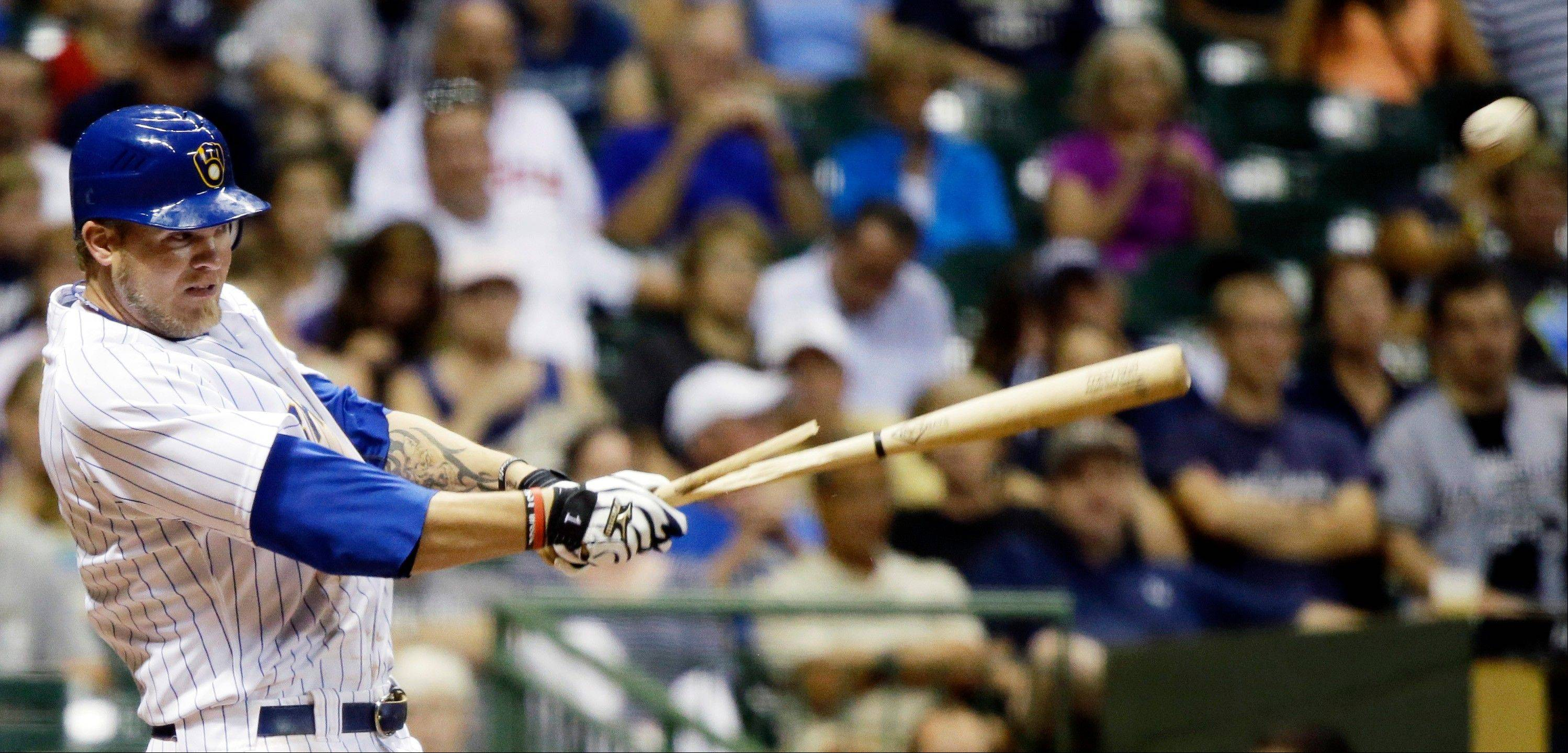 The Brewers' Corey Hart breaks his bat as he hits a single during the sixth inning Friday against the Pittsburgh Pirates in Milwaukee.