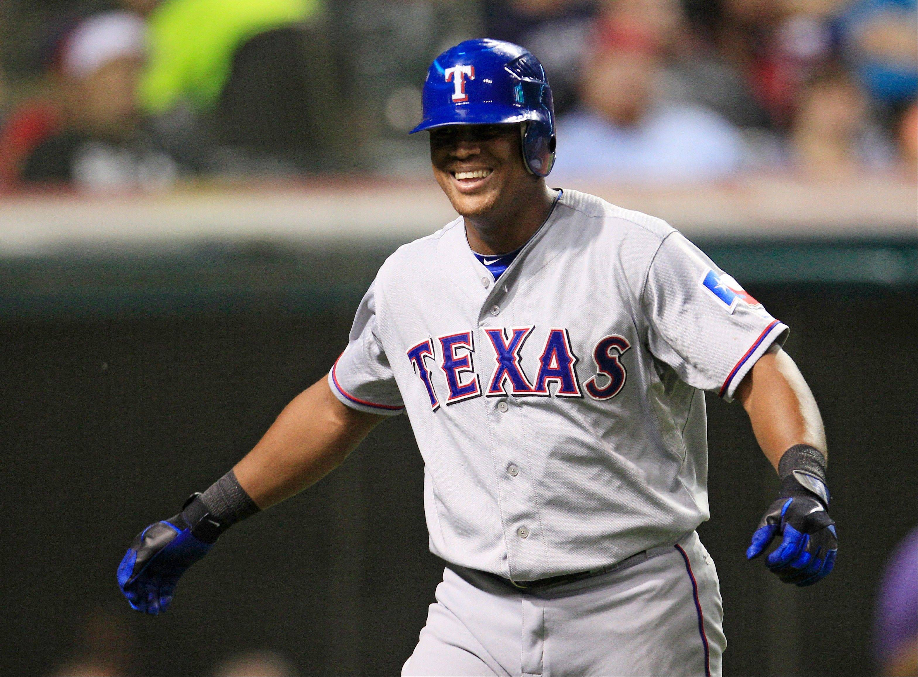 The Rangers' Adrian Beltre hit two doubles and two singles Friday night in Cleveland.