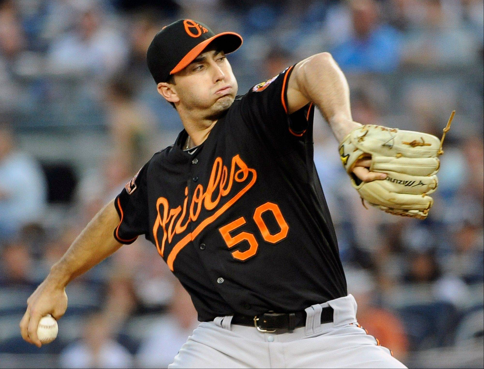 Baltimore Orioles starting pitcher Miguel Gonzalez struck out a career-high nine Friday night against the Yankees in New York.