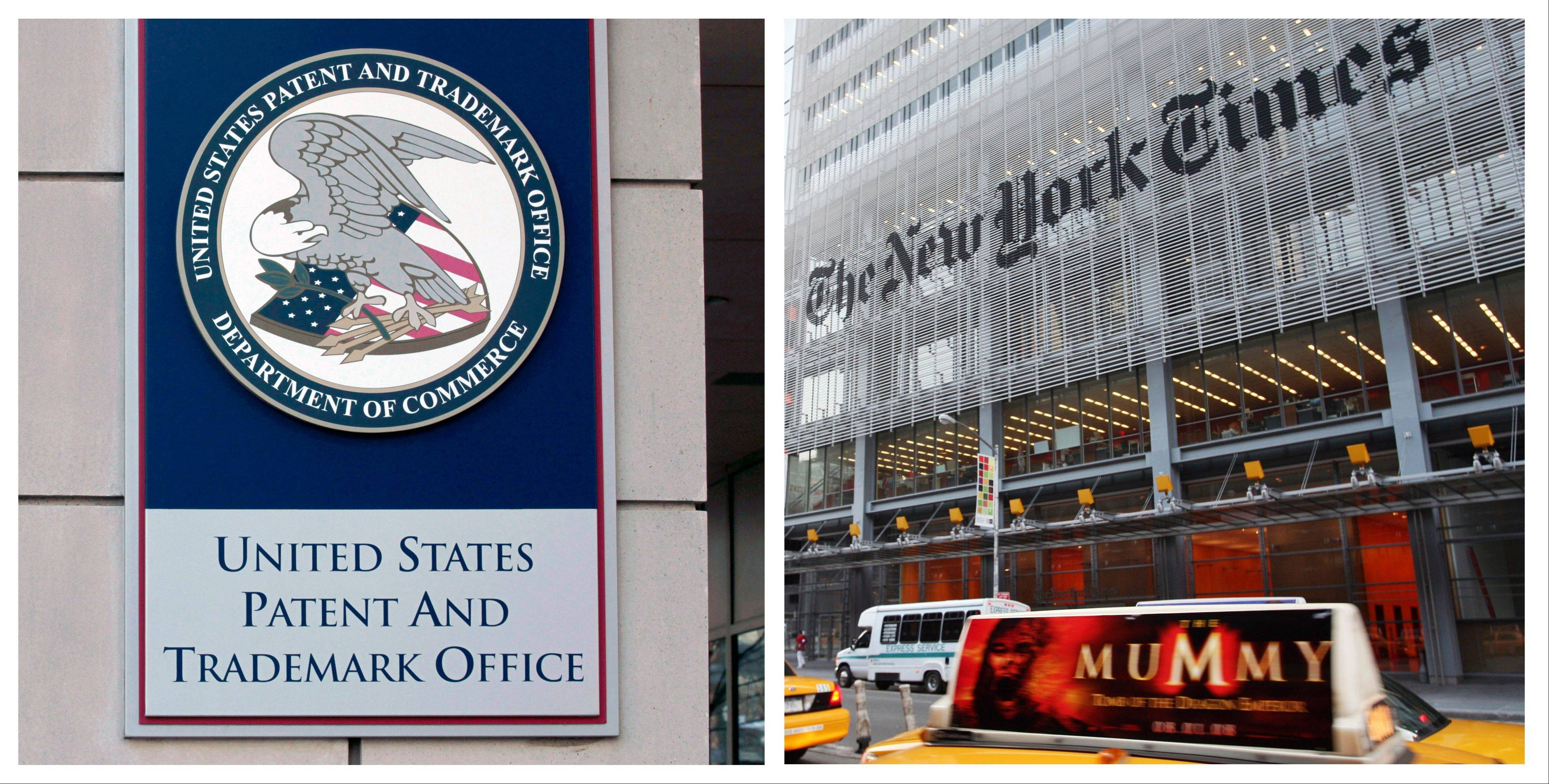 This combination of Associated Press photos shows the The U.S. Patent and Trademark Office in Alexandria, Va., left, and The New York Times building in New York, right.