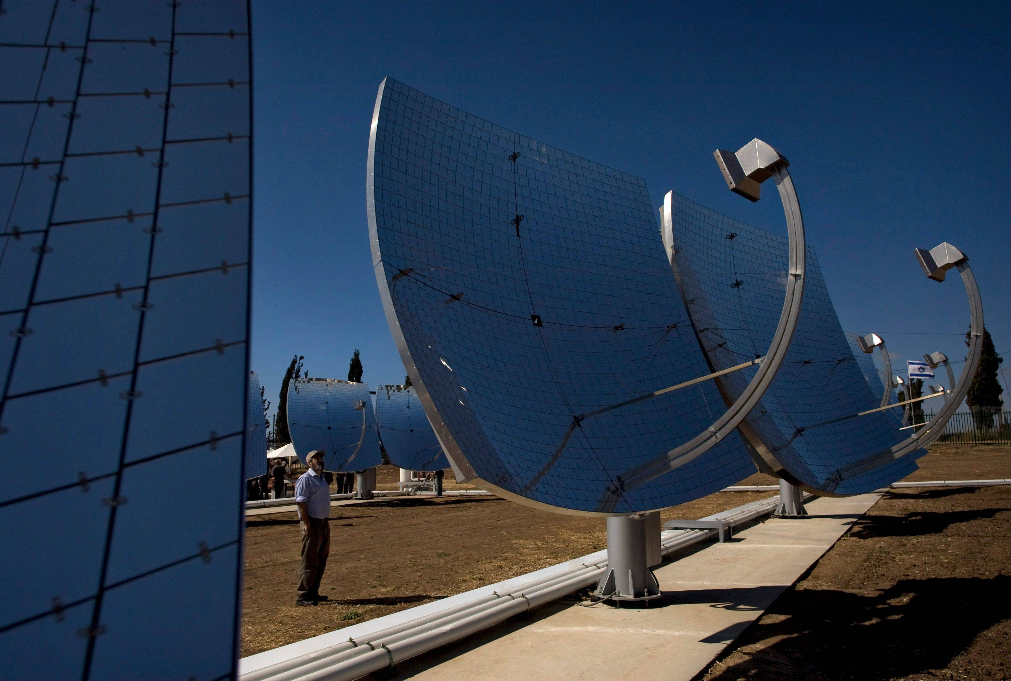 Solar dishes are seen at a solar farm, which according to the manufacturer, are revolutionary in the way they efficiently produce maximum energy using a minimal area, in Kibbutz Kvutzat Yavne, Israel. Israel has a peak solar capacity of 212 megawatts, the vast majority of which comes from rooftop installations, that accounts for less than 2 percent of the nationwide capacity according to the government-owned Israel Electric Corporation.