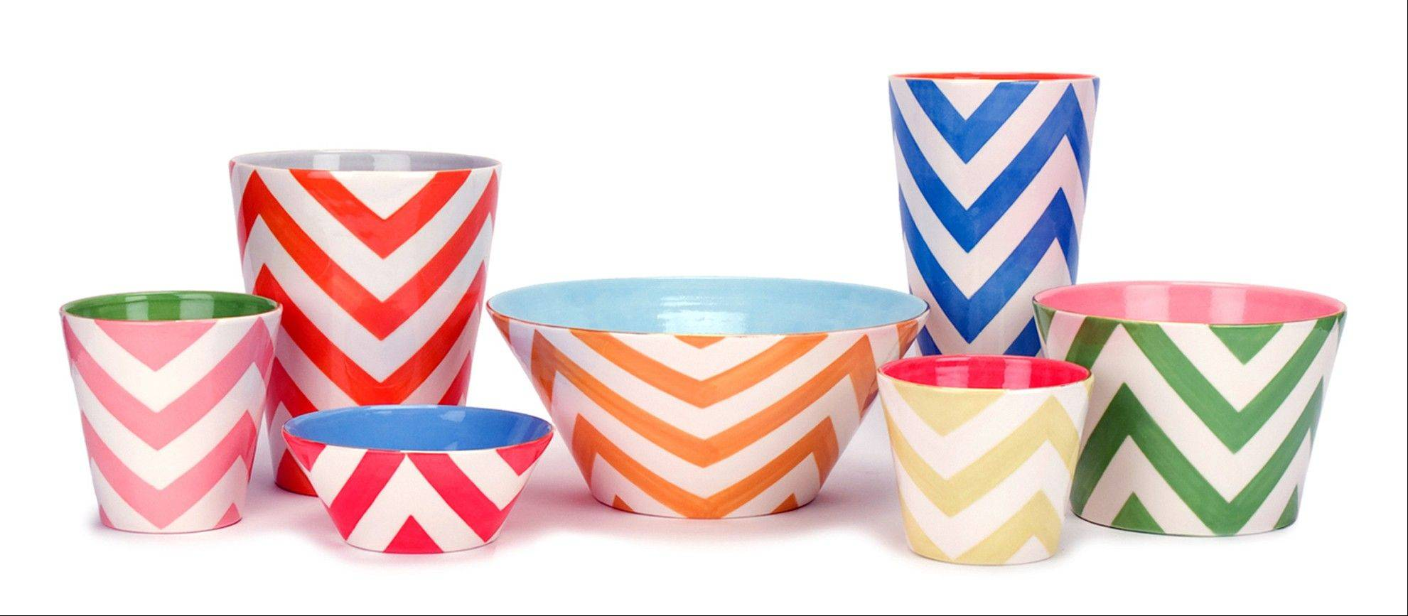 These Buckley chevron vases and bowls add a cheerful note to any room, from $76 at www.jillrosenwald.com.