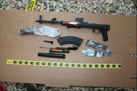 The Cook County sheriff's office said this AK-47 was found outside the trailer home of 32-year-old Timothy Bogacki of an unincorporated area near Des Plaines. Bogacki faces two felony and two misdemeanor charges.