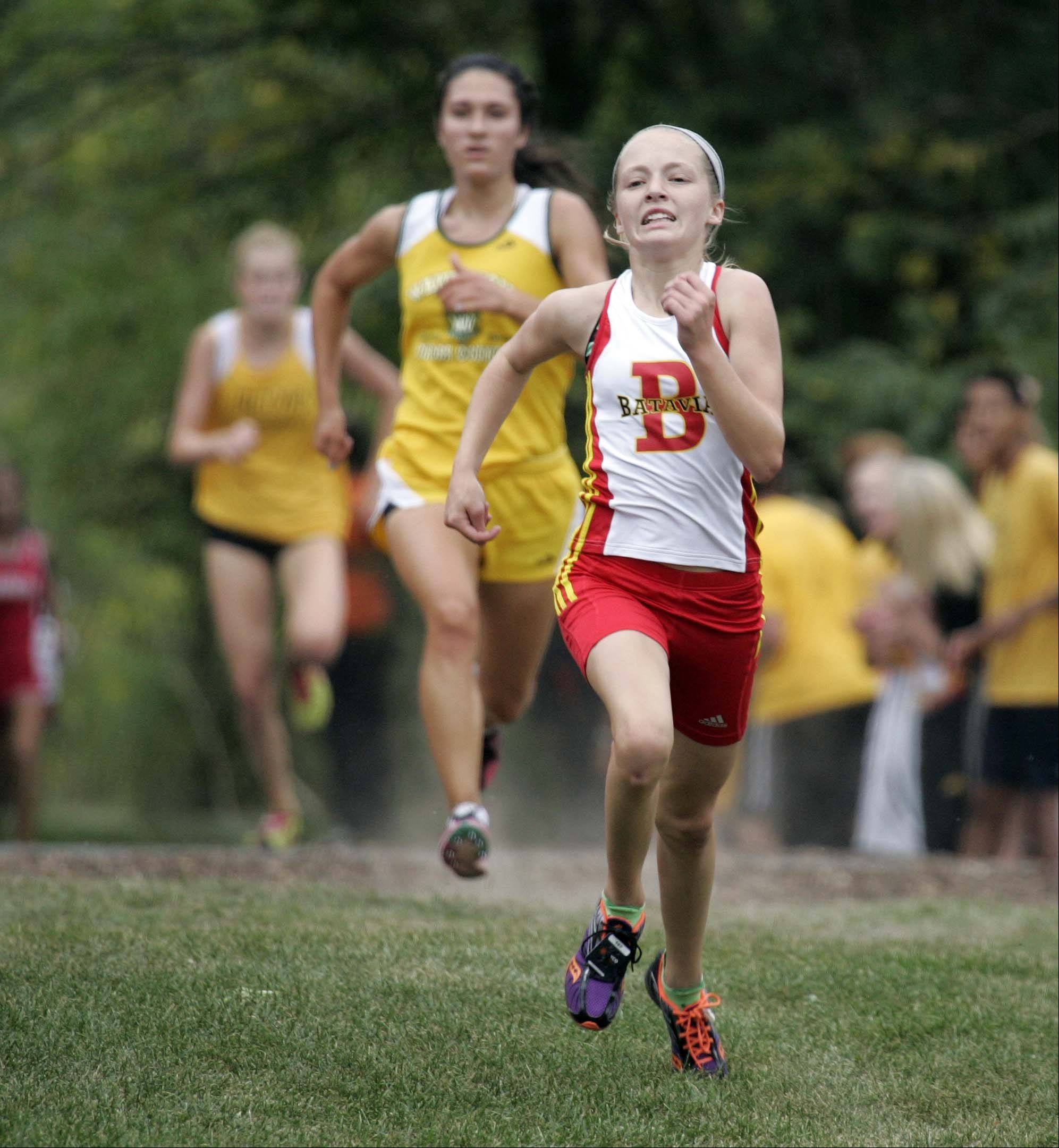 Batavia's Dakota Roman races to sixth place during the girls varsity race at the St. Charles East cross country meet at LeRoy Oakes in St. Charles Saturday September 1, 2012.