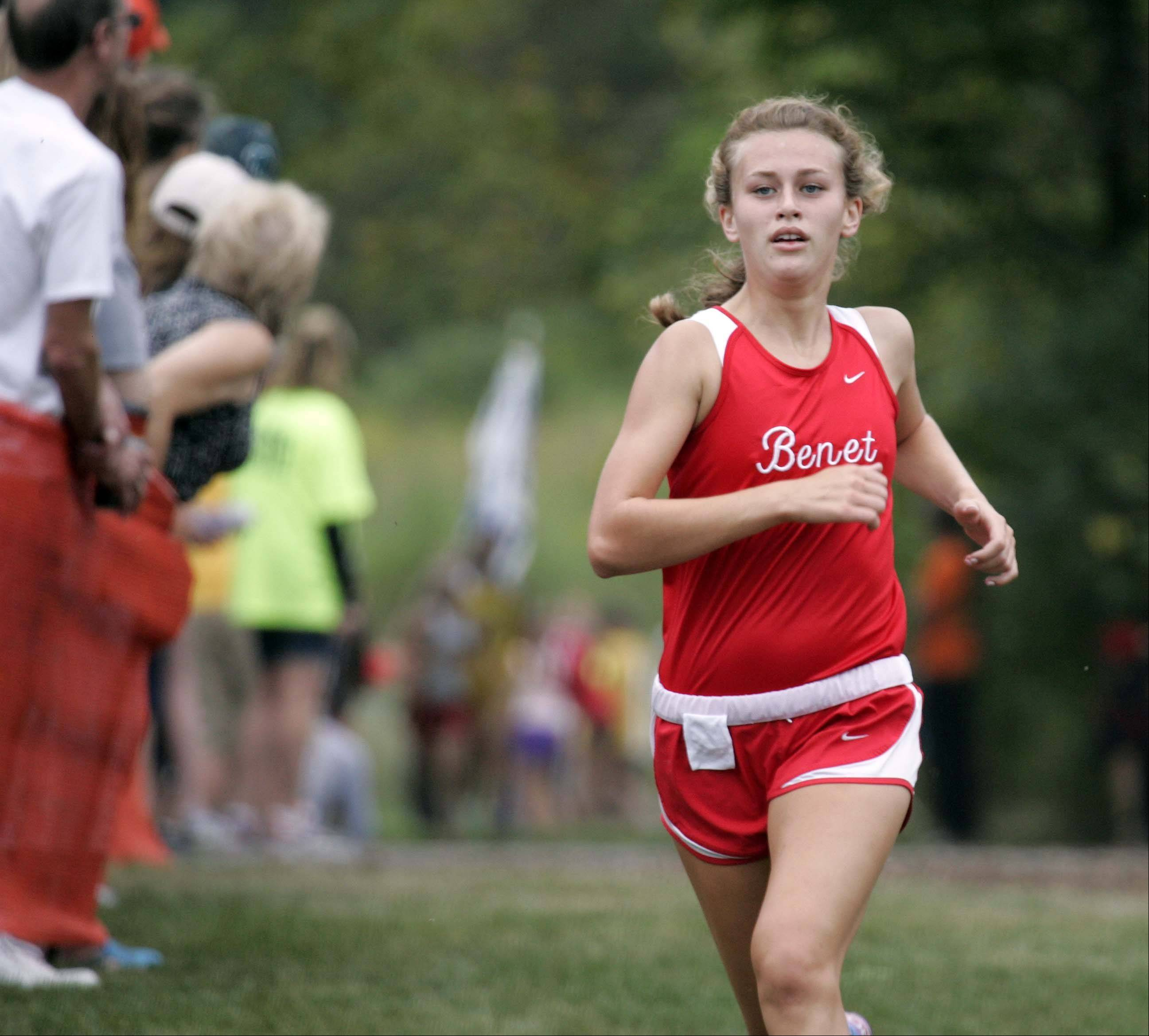 Benet Academy's Audrey Blazek races to fifth place during the girls varsity race at the St. Charles East cross country meet at LeRoy Oakes in St. Charles Saturday September 1, 2012.