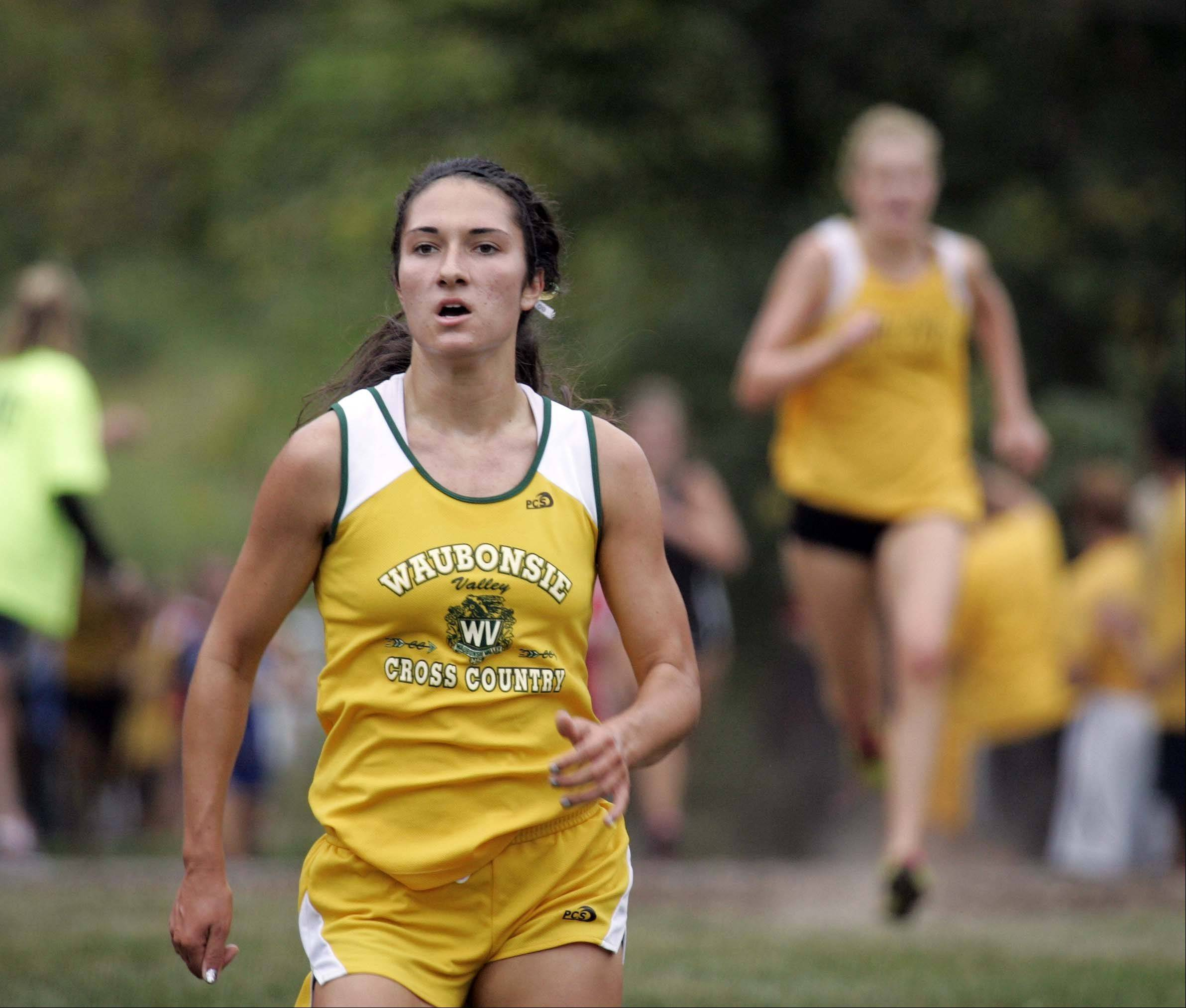 Waubonsie Valley's Ashley Brunner races to seventh place during the girls varsity race at the St. Charles East cross country meet at LeRoy Oakes in St. Charles Saturday September 1, 2012.