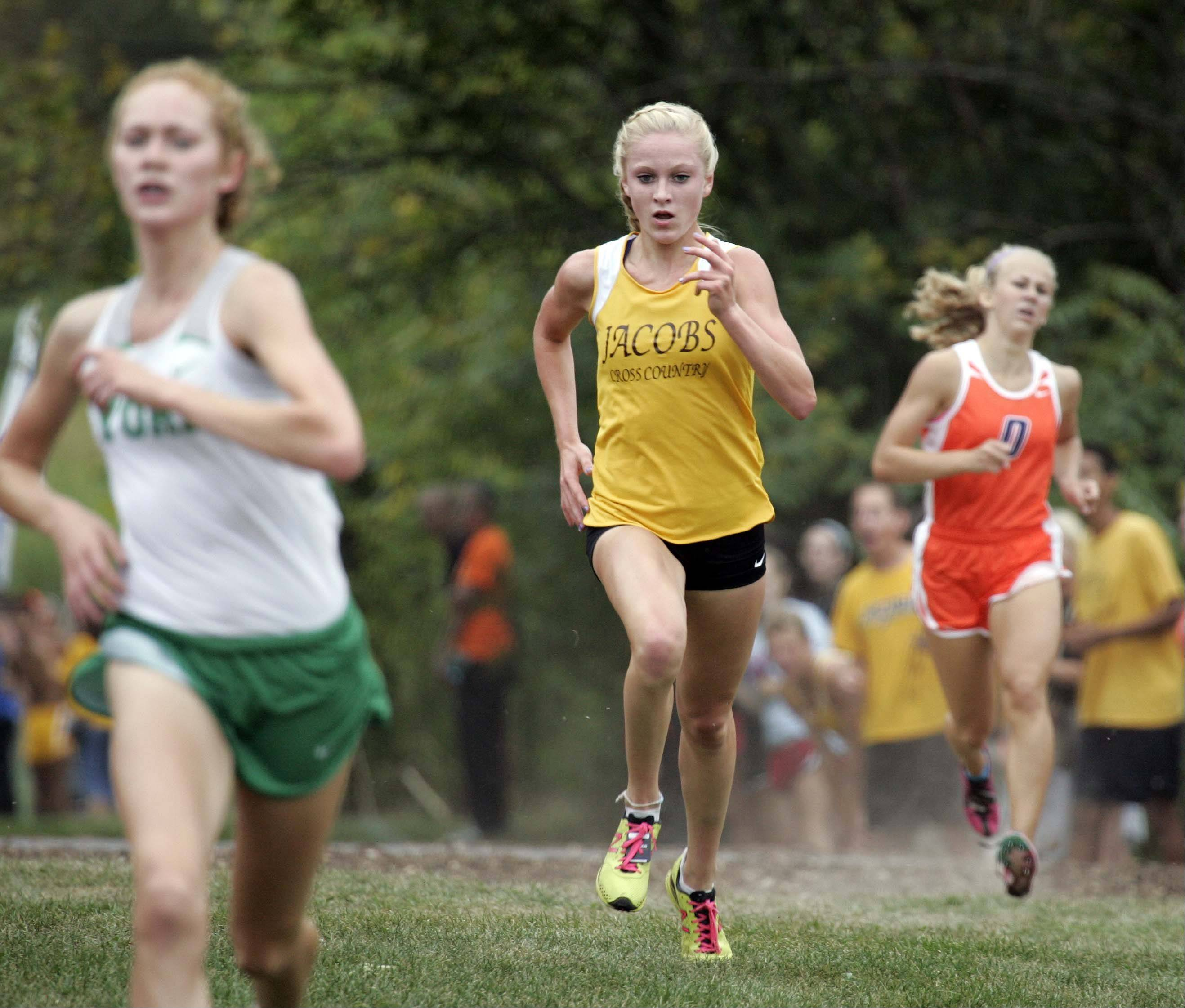 Jacobs' Lauren Van Vlierbergen races to second place during the girls varsity race at the St. Charles East cross country meet at LeRoy Oakes in St. Charles Saturday September 1, 2012.